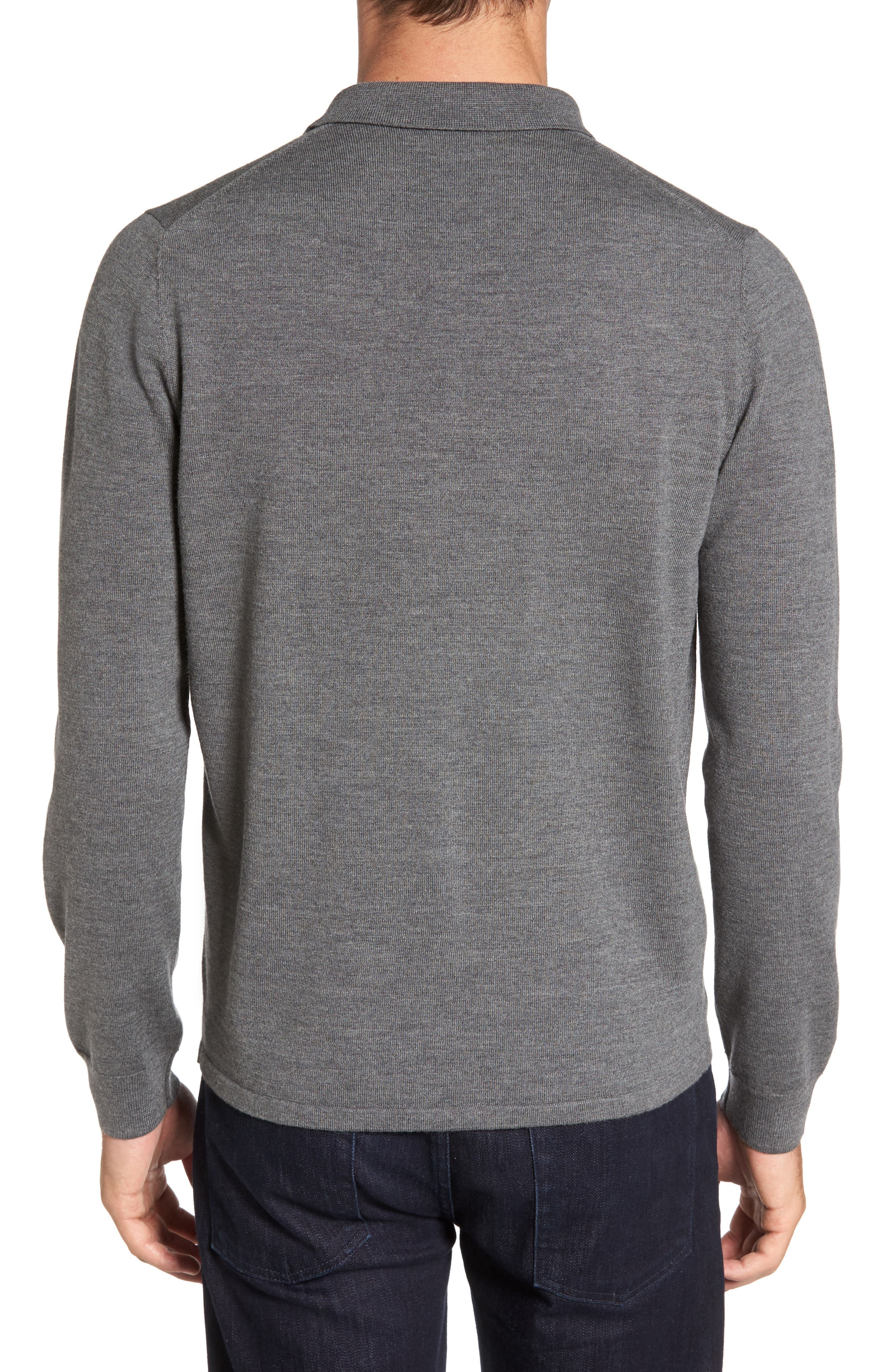 Merino Wool Polo Sweater,                             Alternate thumbnail 2, color,                             Grey Heather