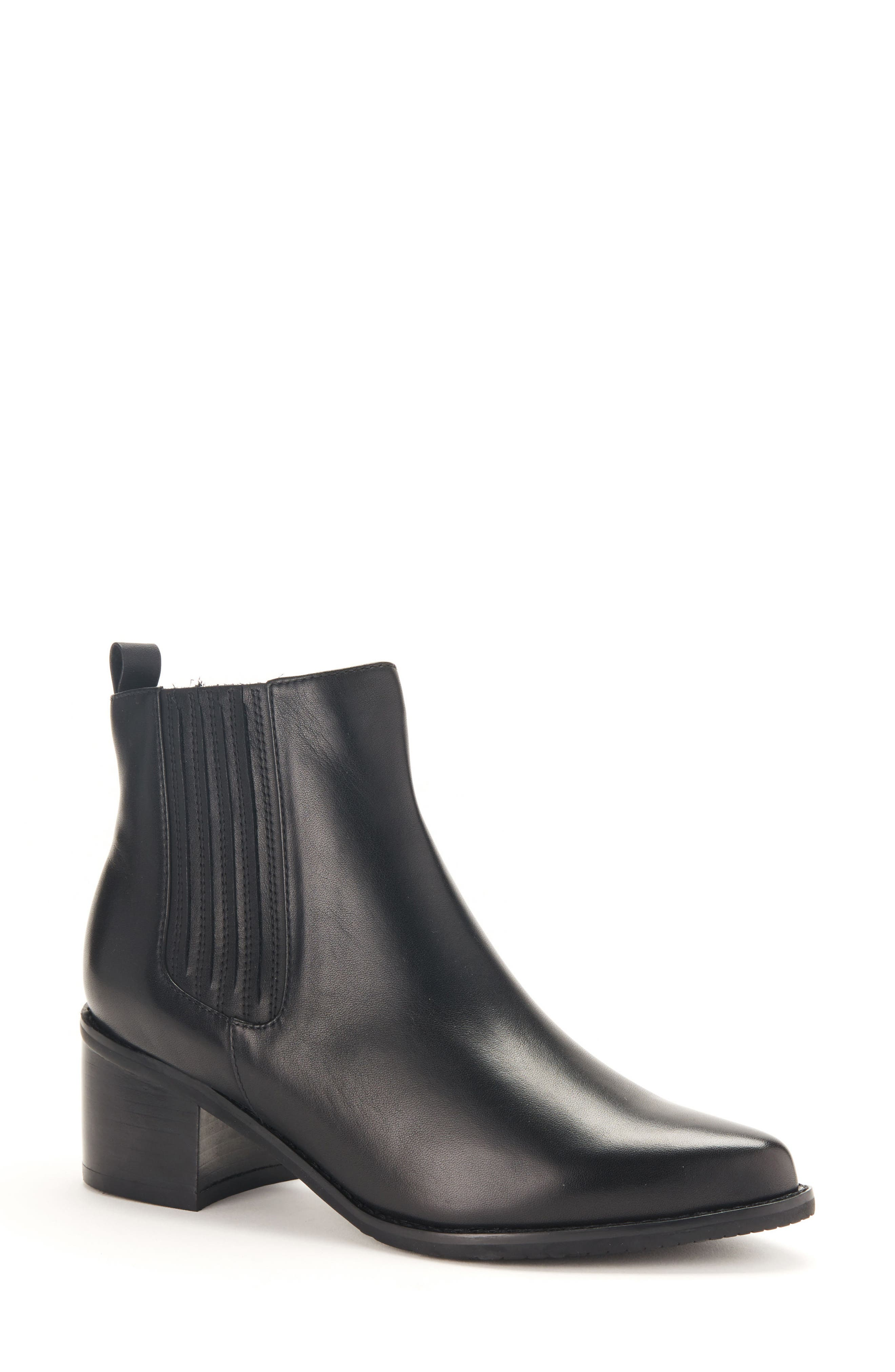 Elvina Waterproof Bootie,                             Main thumbnail 1, color,                             Black Leather