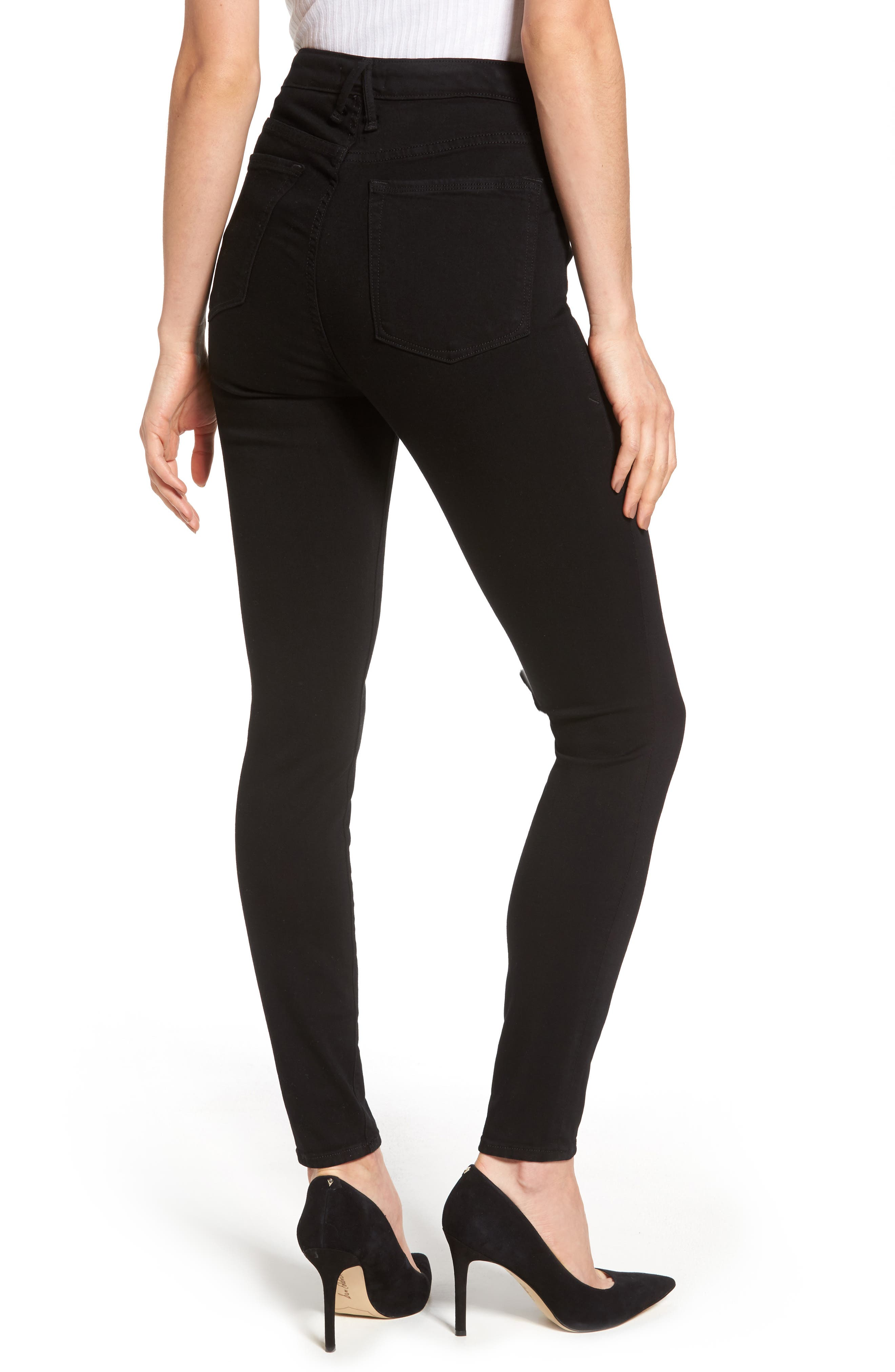 Good Waist Exposed Zip Skinny Jeans,                             Alternate thumbnail 2, color,                             Black001
