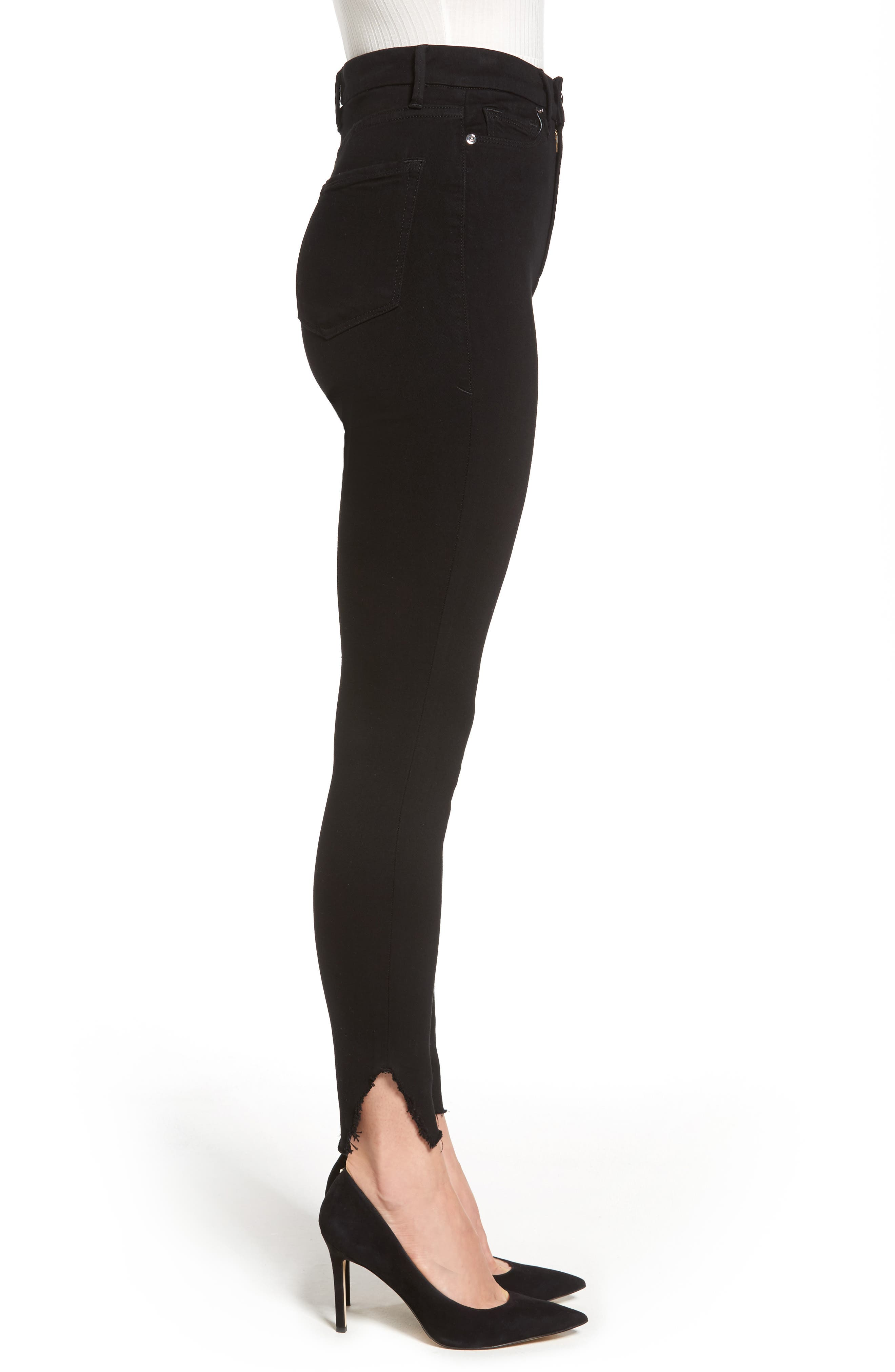 Good Waist Side Triangle Skinny Jeans,                             Alternate thumbnail 3, color,                             Black108