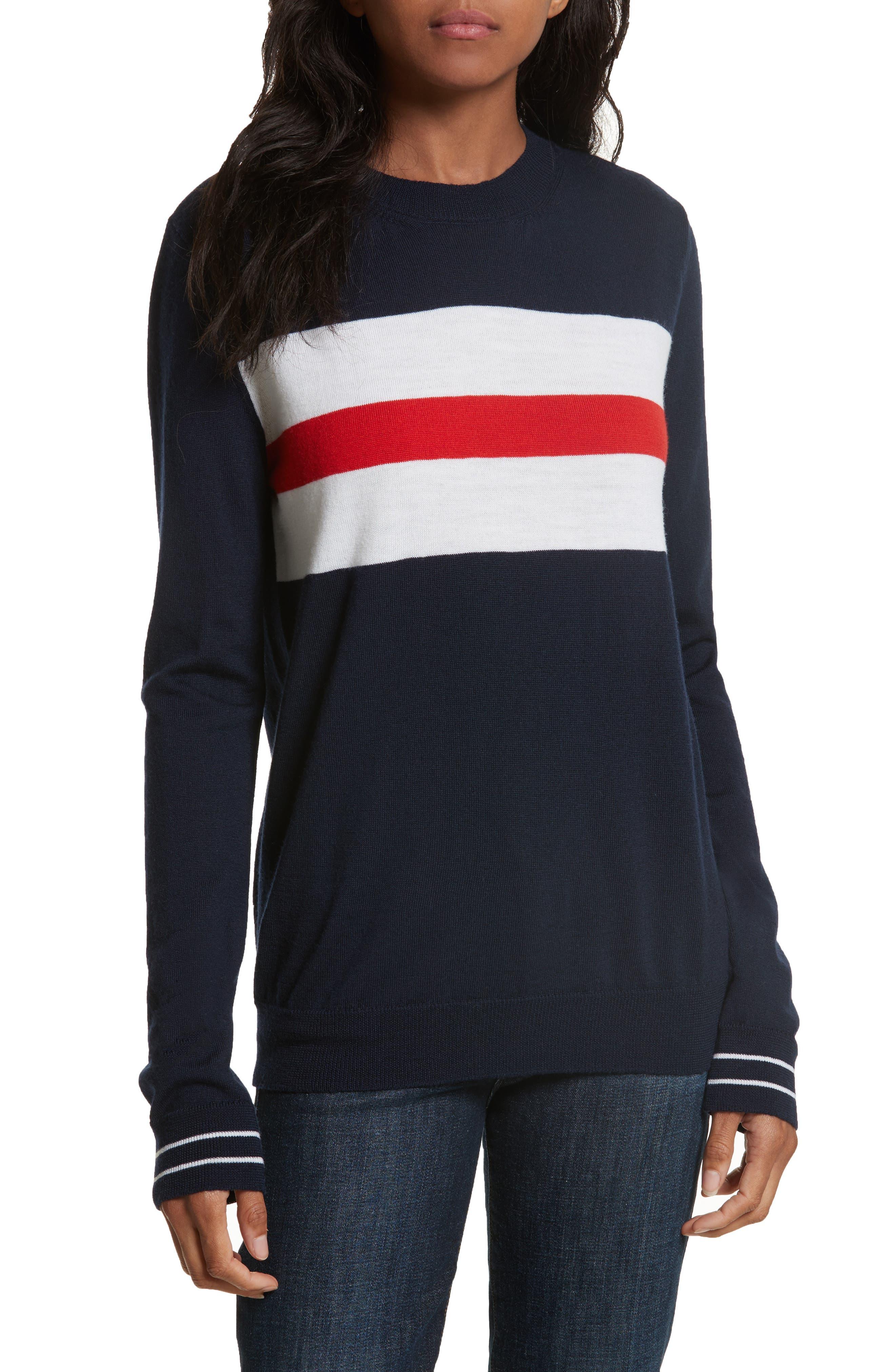 être cécile Boyfriend Knit Merino Wool Sweater,                         Main,                         color, Navy