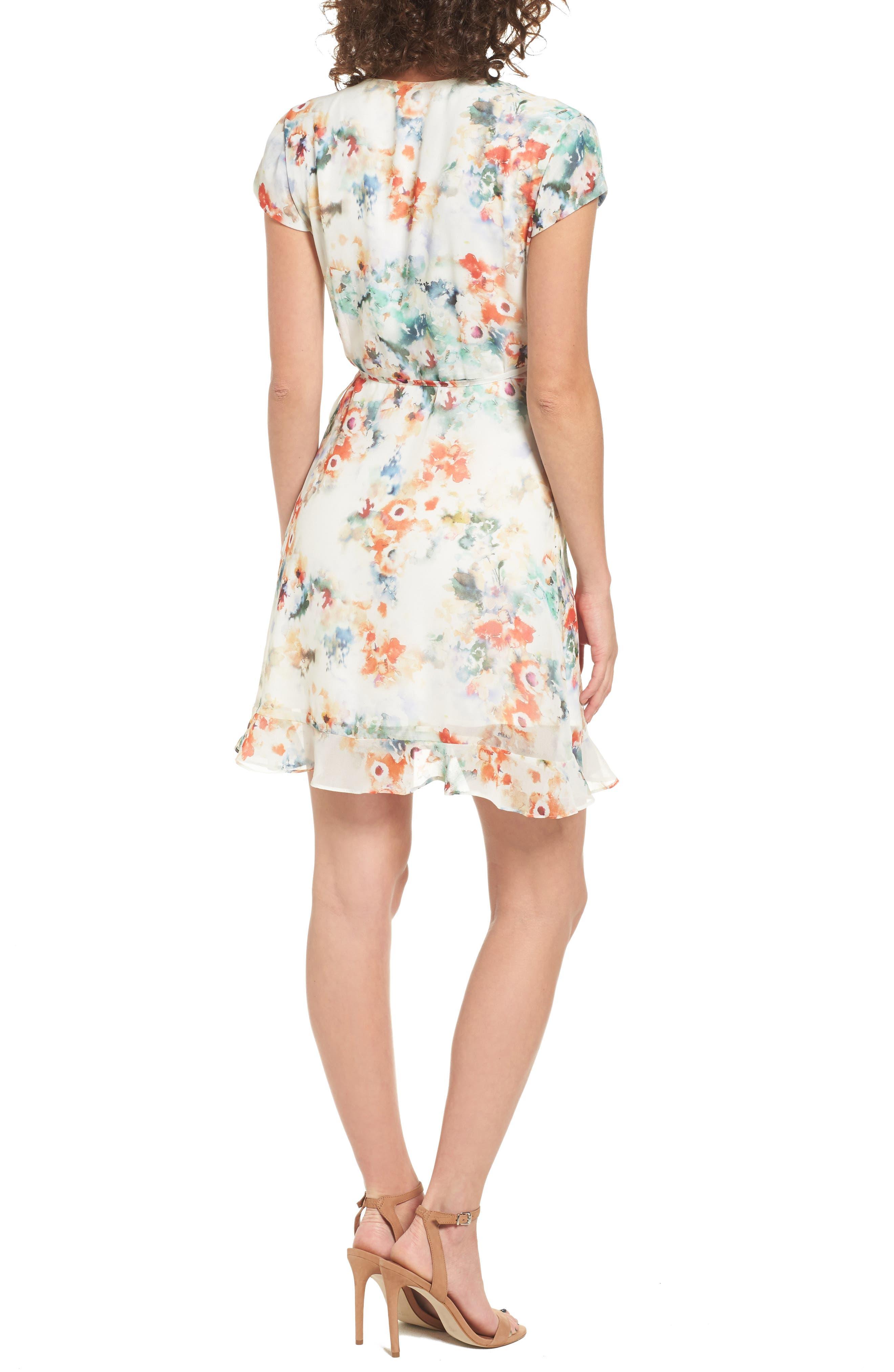 Floral Wrap Dress,                             Alternate thumbnail 2, color,                             Tangerine