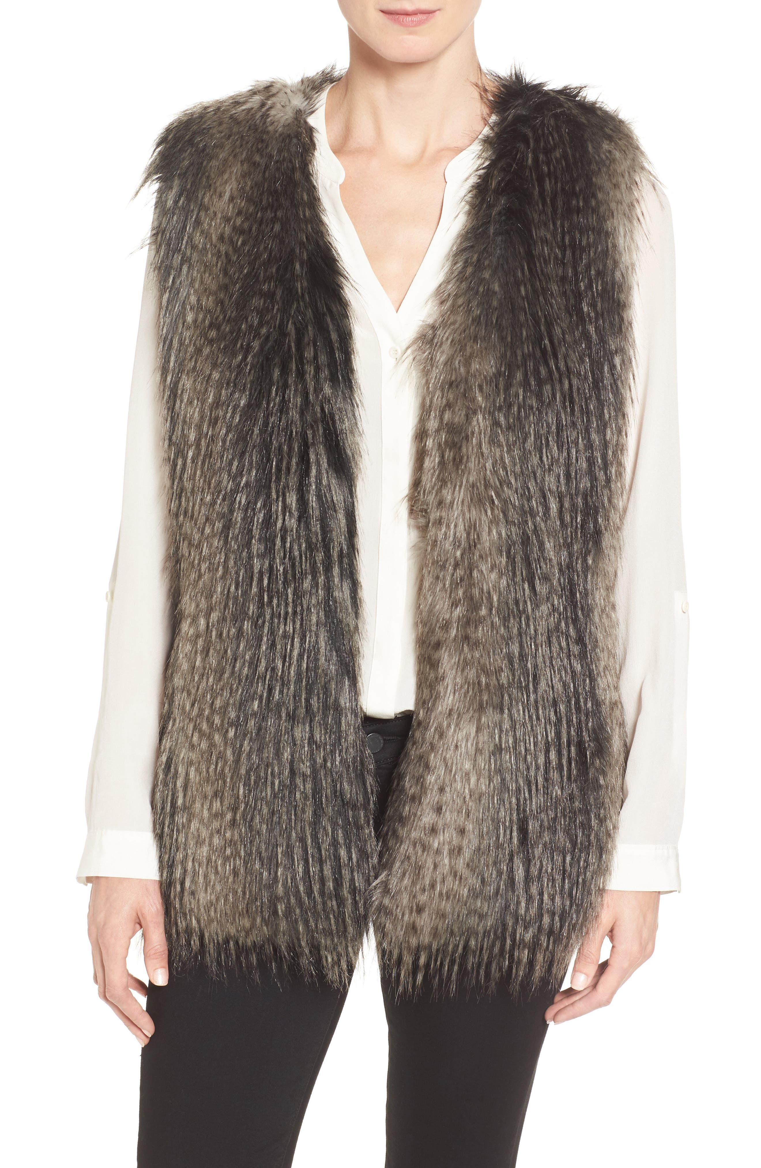 Via Spiga Collarless Faux Fur Vest | Nordstrom