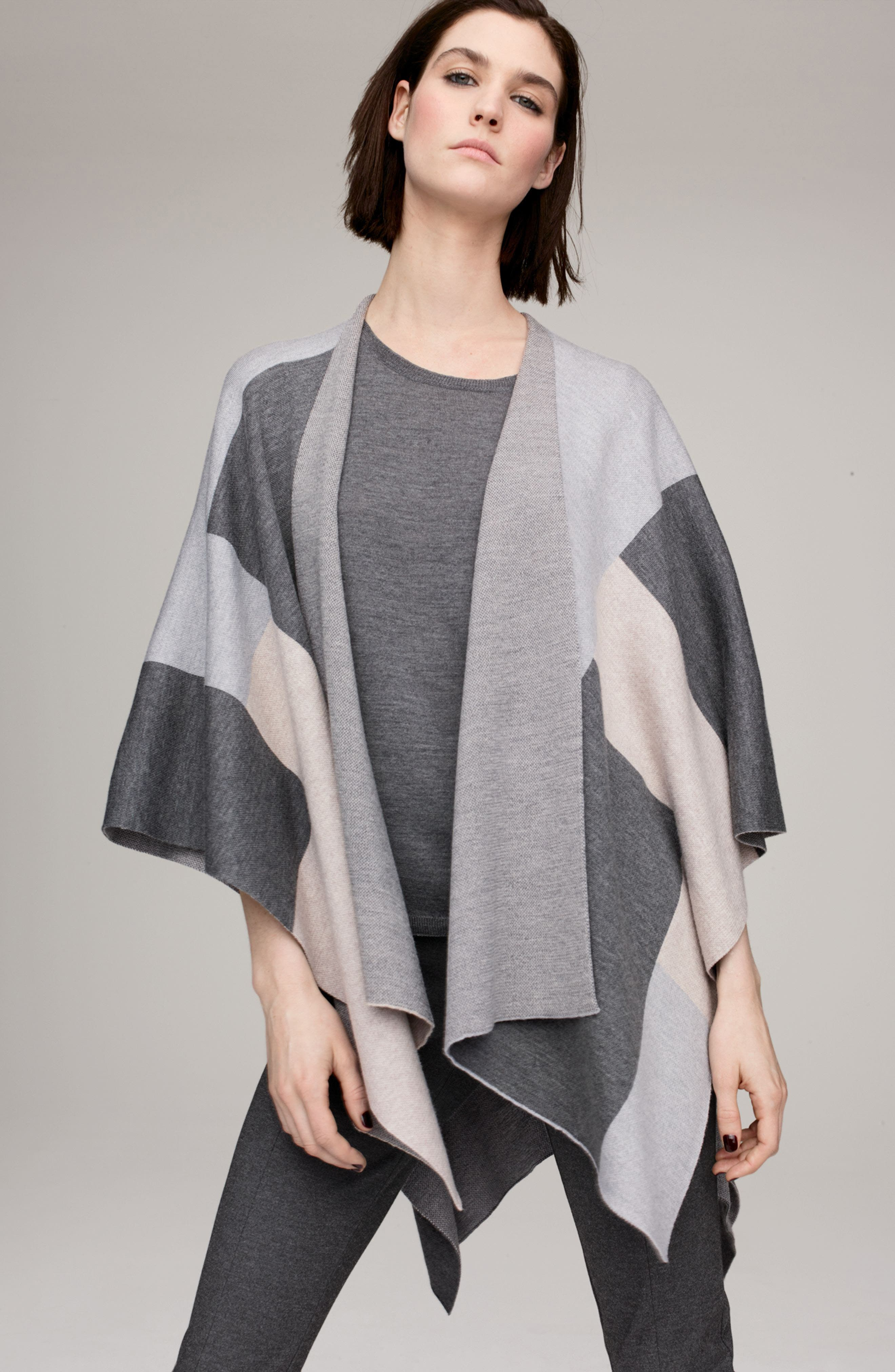 Eileen Fisher Serape Wrap, Tee & Pants Outfit with Accessories
