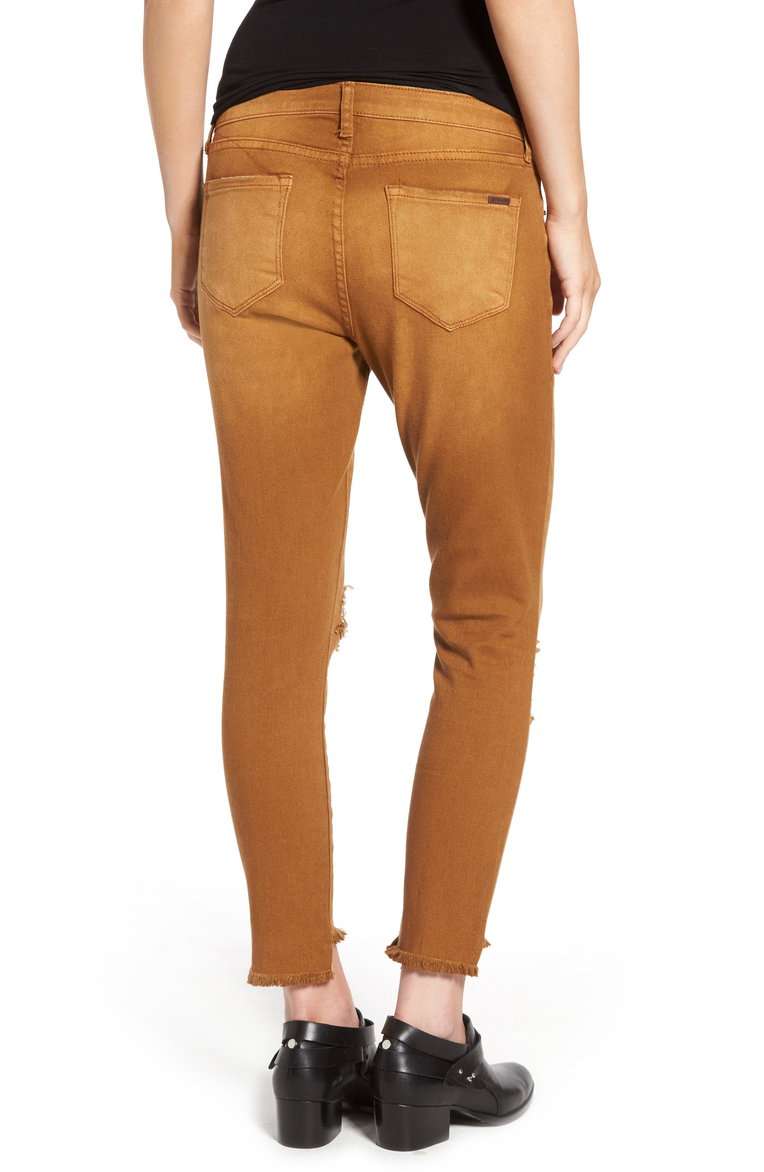 Step Hem Skinny Jeans,                             Alternate thumbnail 2, color,                             Cinnamon