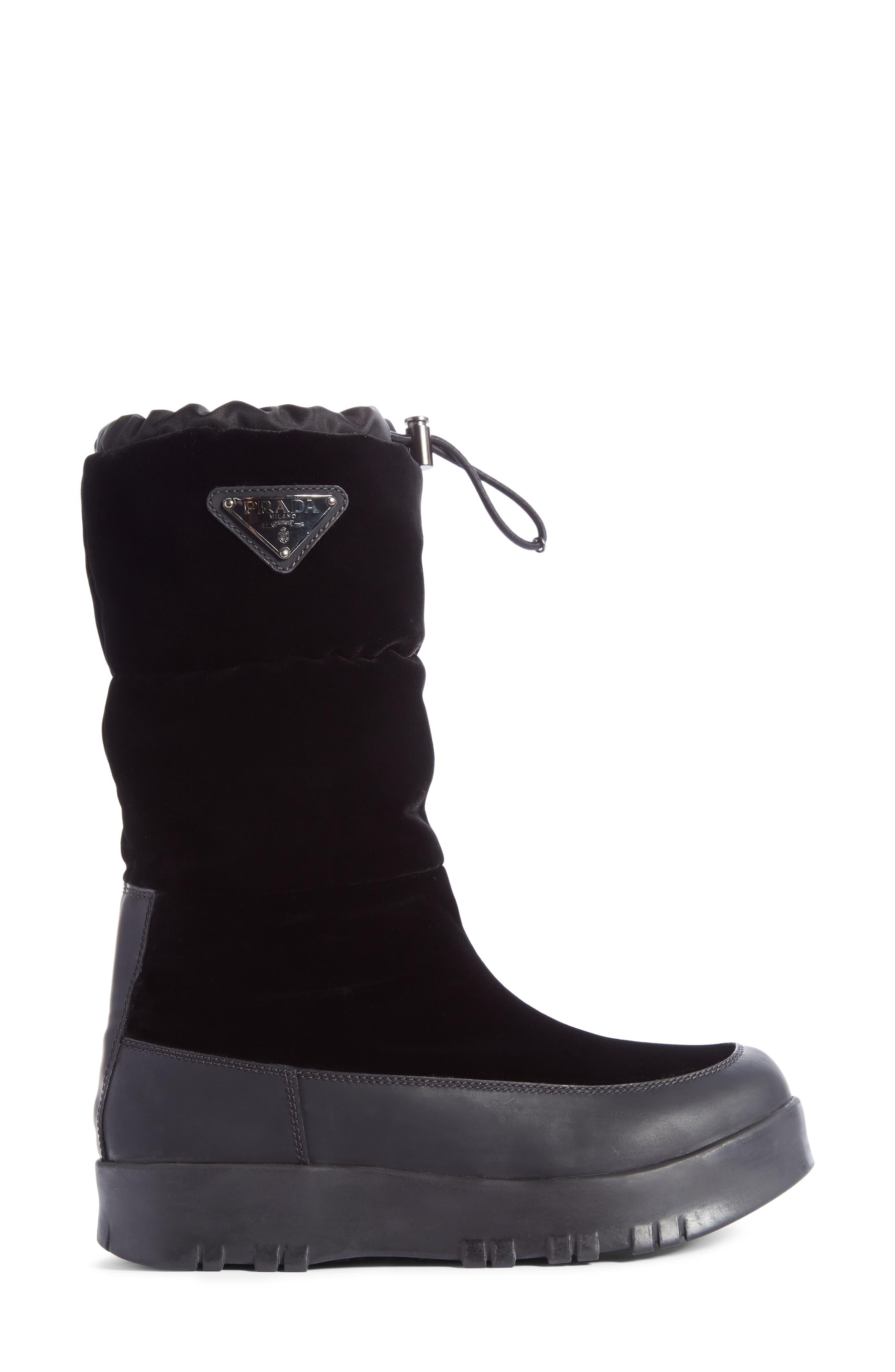 Logo Flatform Snow Boot,                             Alternate thumbnail 4, color,                             Black