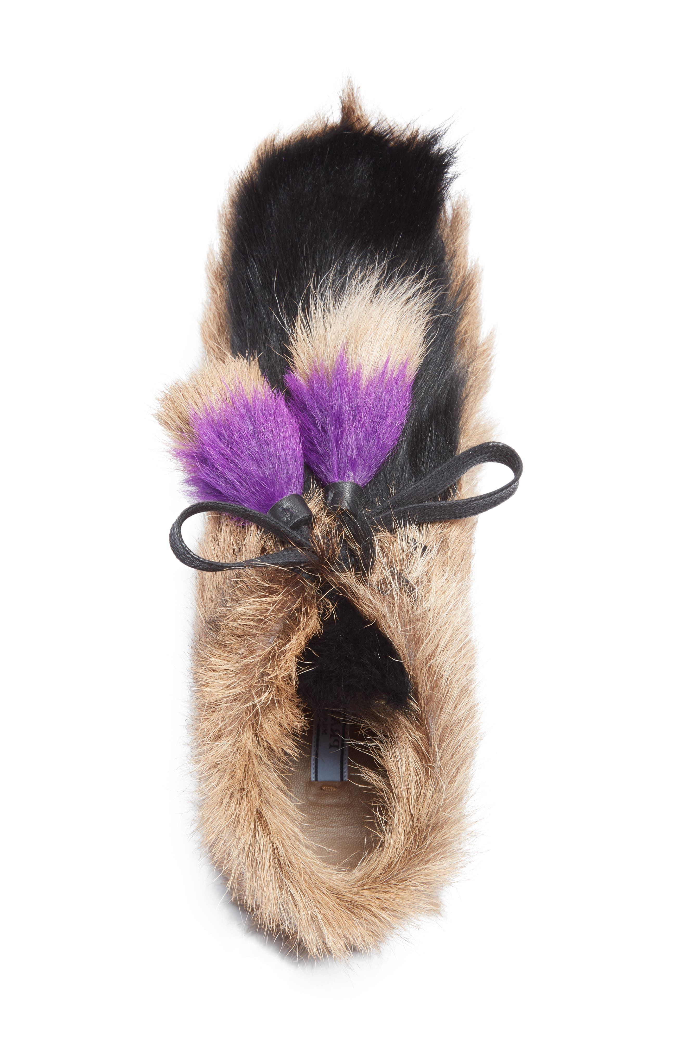 Genuine Shearling and Goat Hair Bootie,                             Alternate thumbnail 3, color,                             Beige Multi