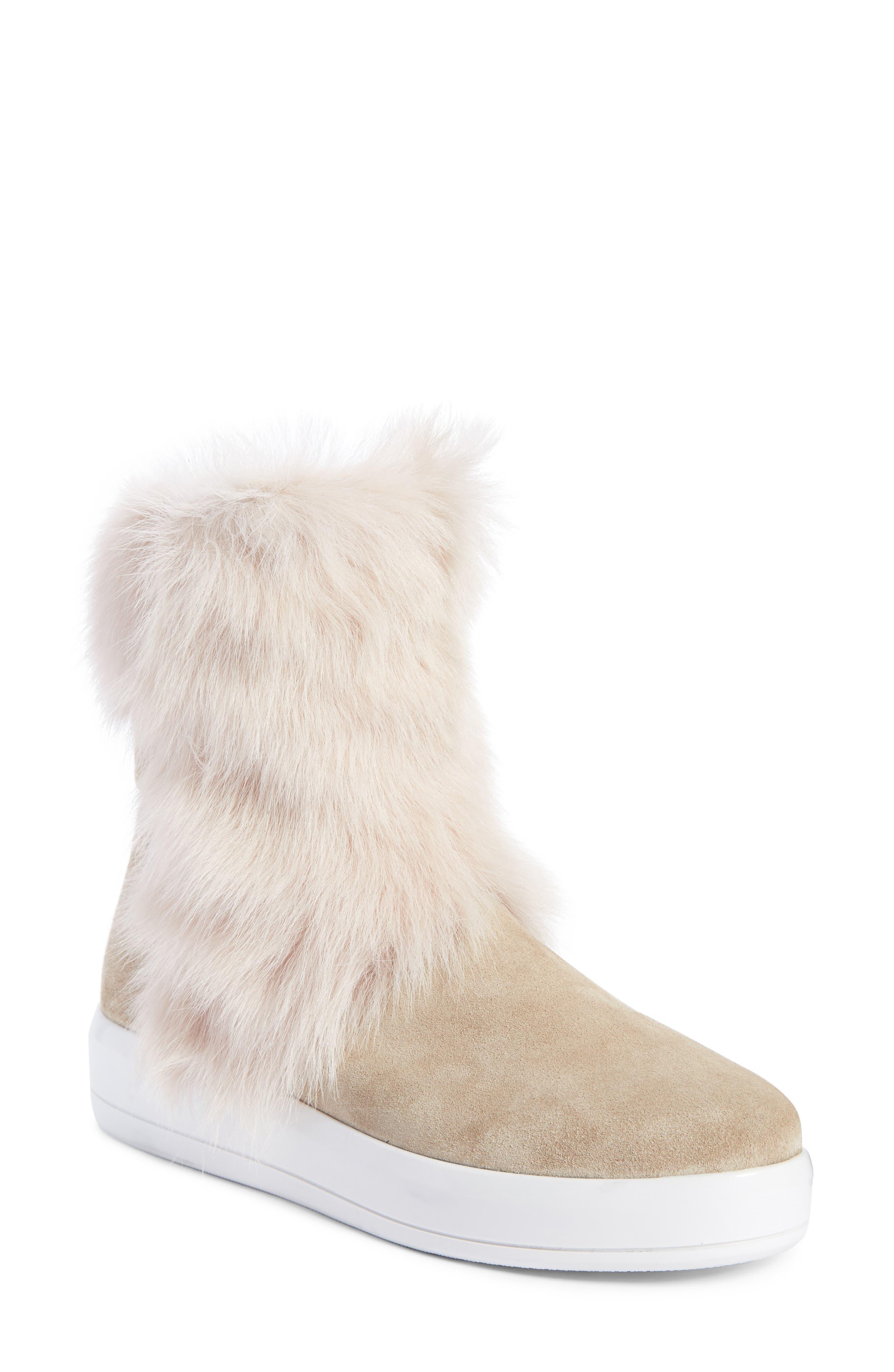 Prada Linea Rossa Calfskin Suede Boot with Genuine Shearling Trim (Women)