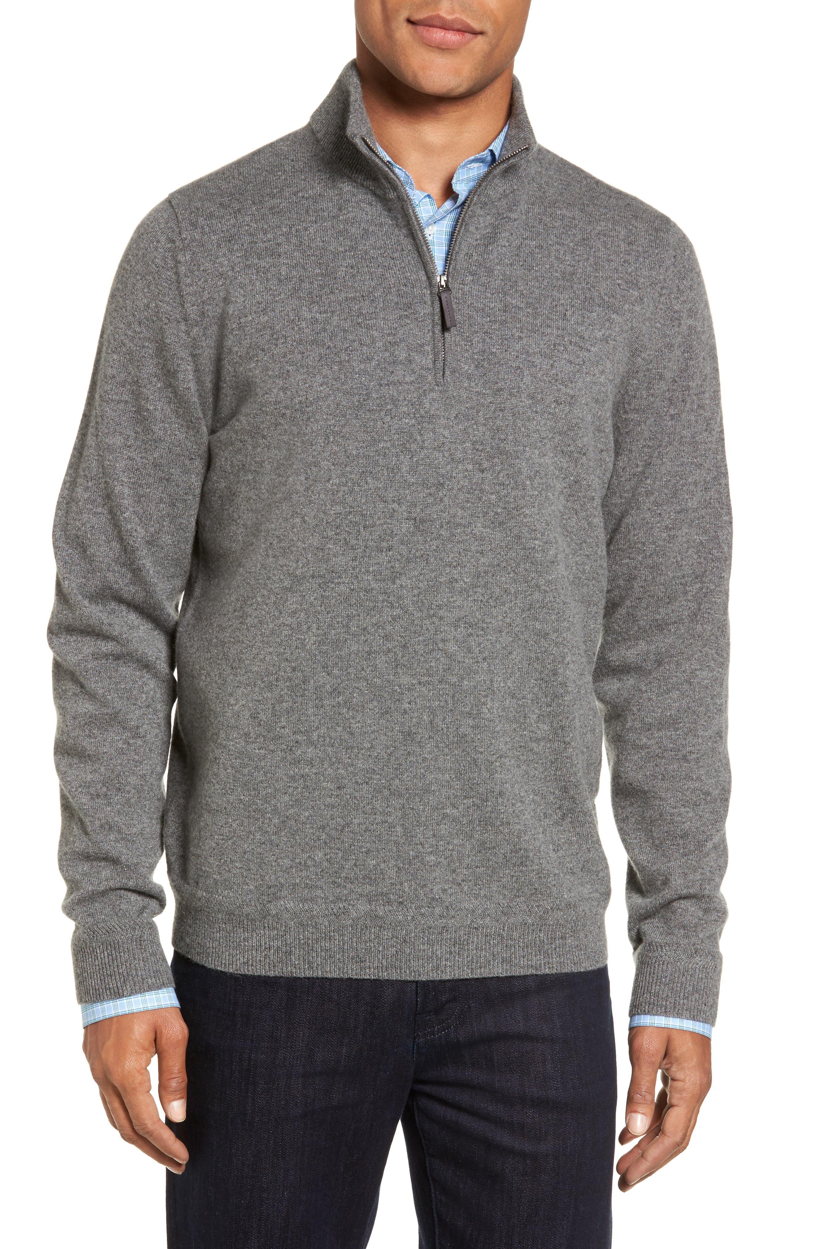 Main Image - John W. Nordstrom® Quarter Zip Cashmere Sweater (Regular & Tall)