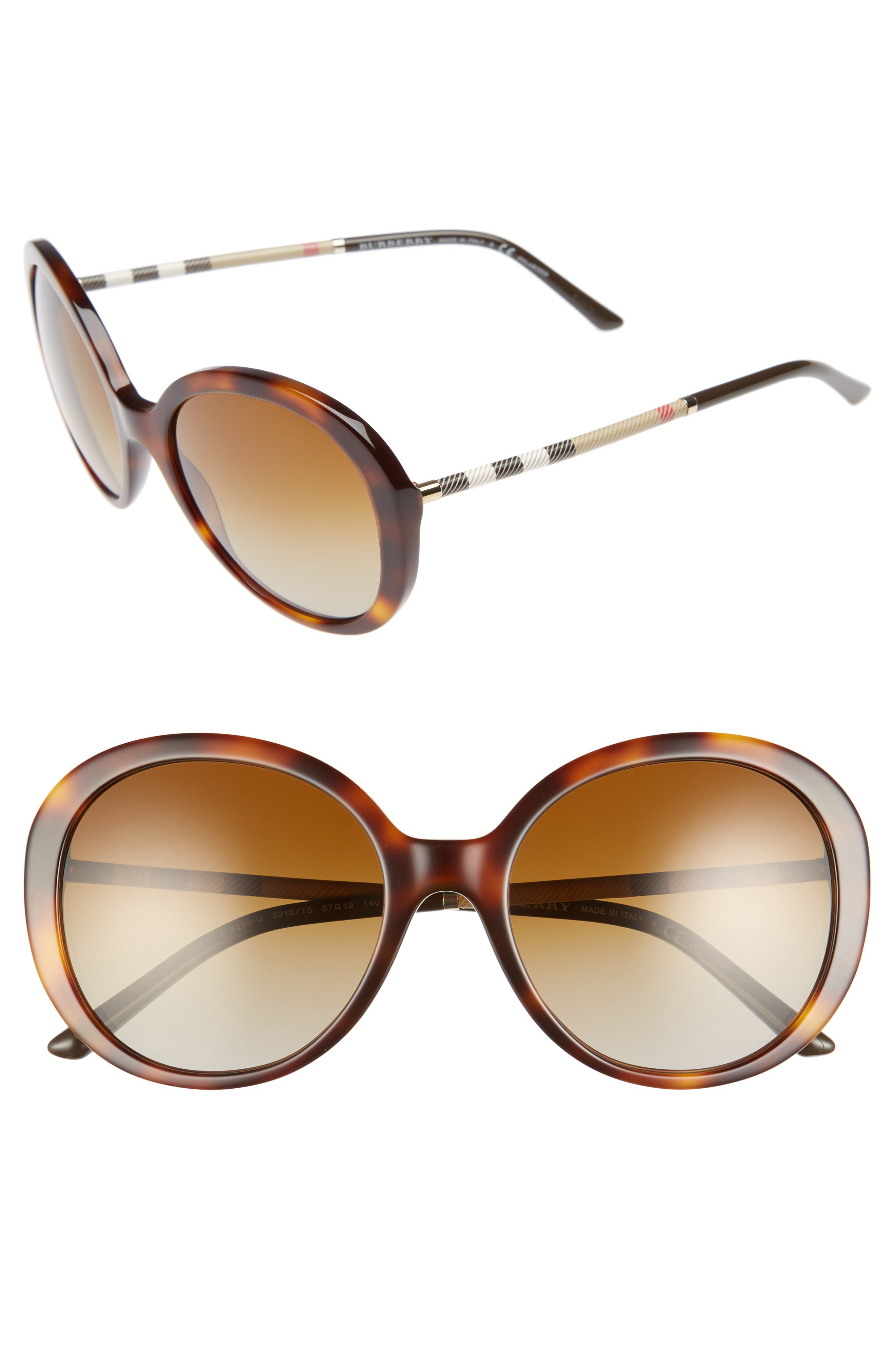 Main Image - Burberry 57mm Check Temple Polarized Round Frame Sunglasses