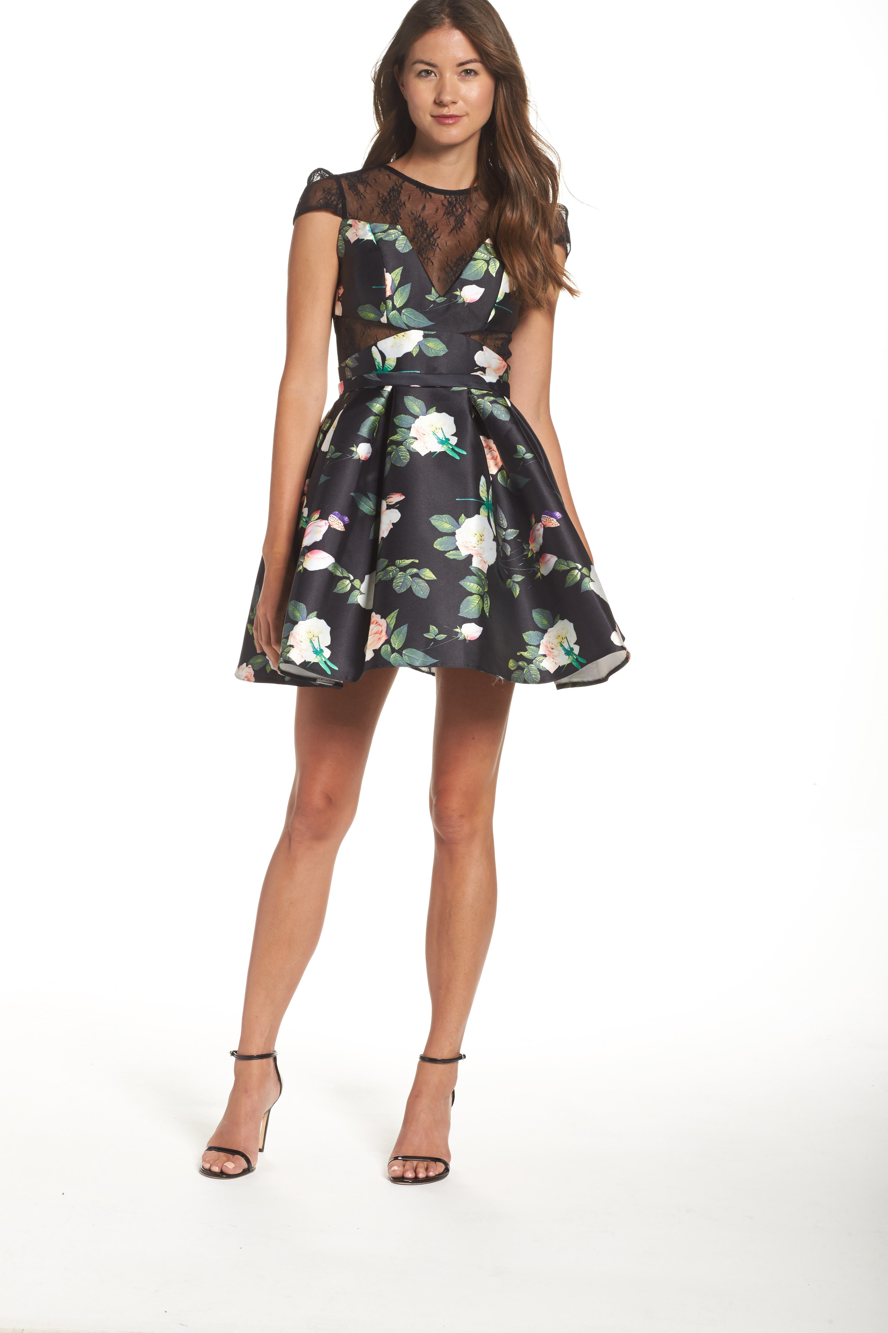 Mac Duggal Lace Inset Floral Fit & Flare Dress