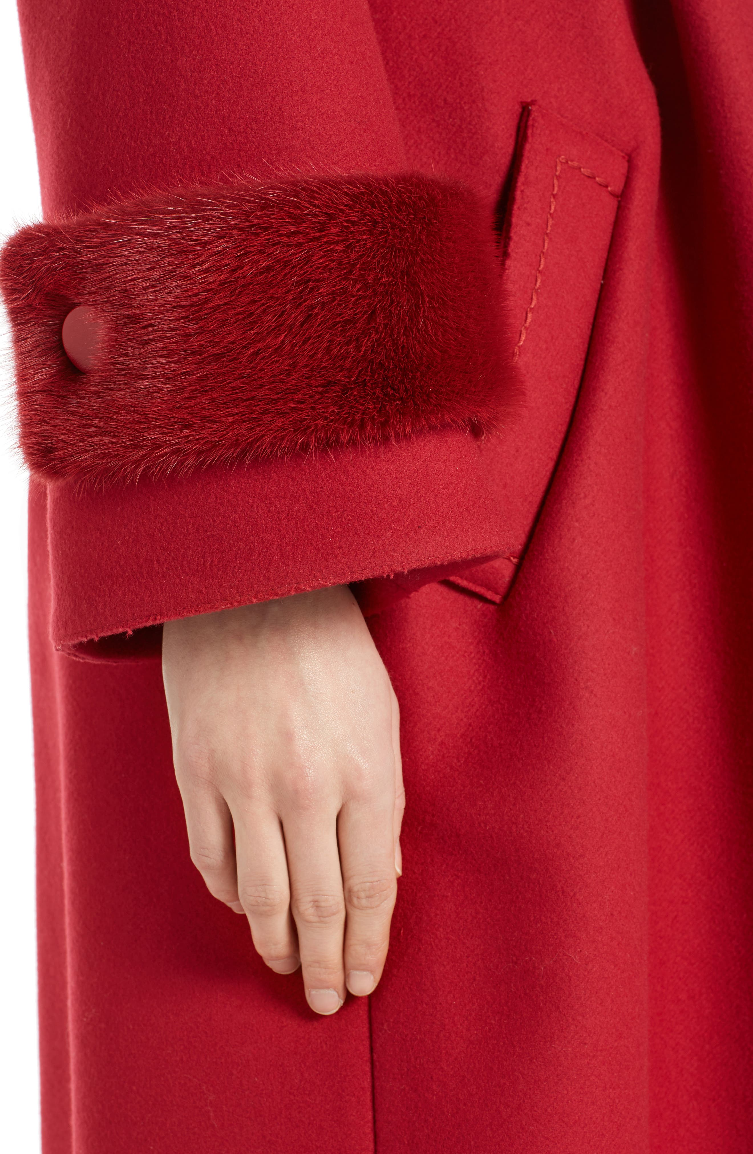 Wool & Cashmere Coat with Genuine Mink Cuffs,                             Alternate thumbnail 4, color,                             Red