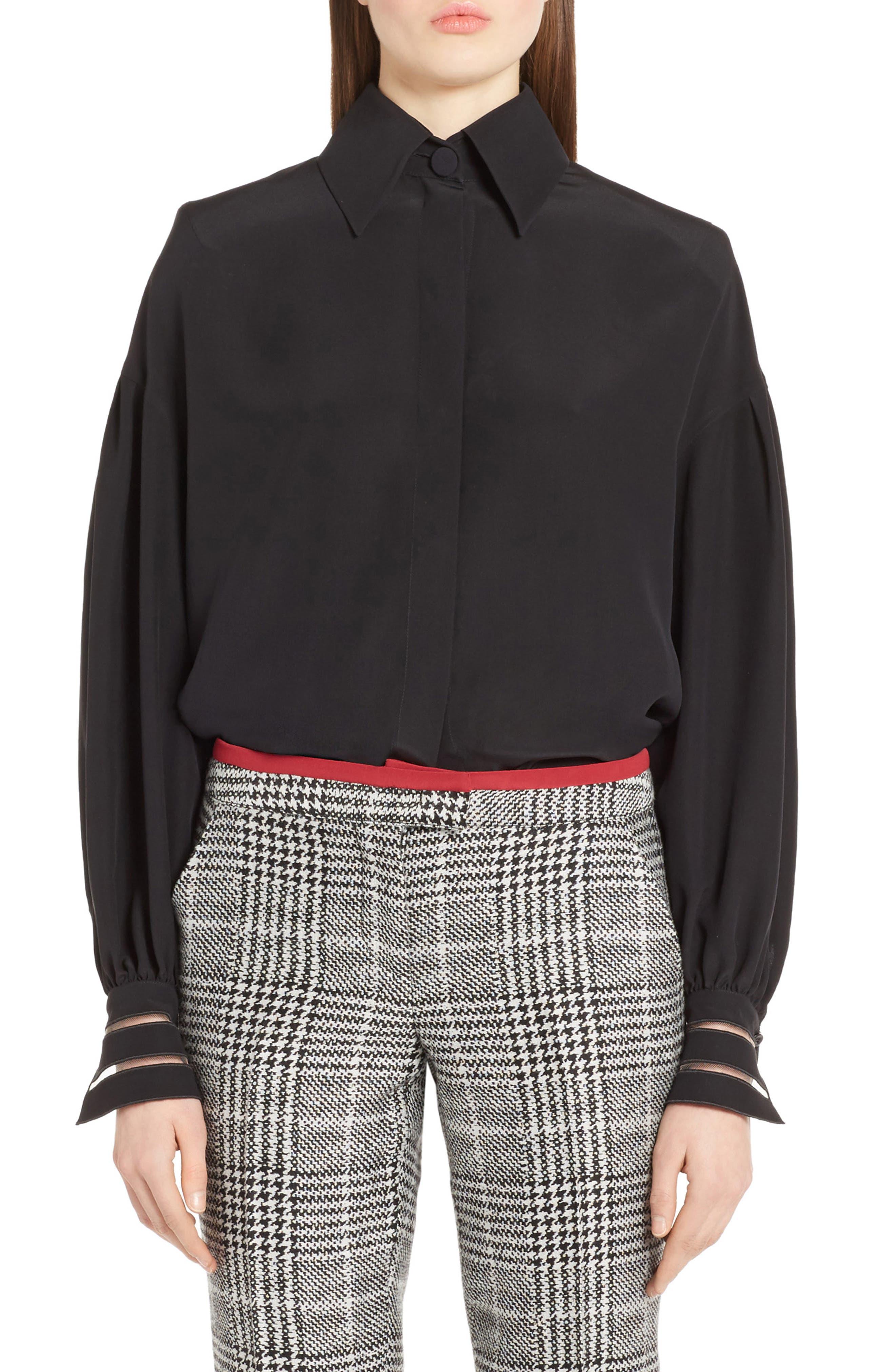 Bishop Sleeve Silk Blouse,                         Main,                         color, Black