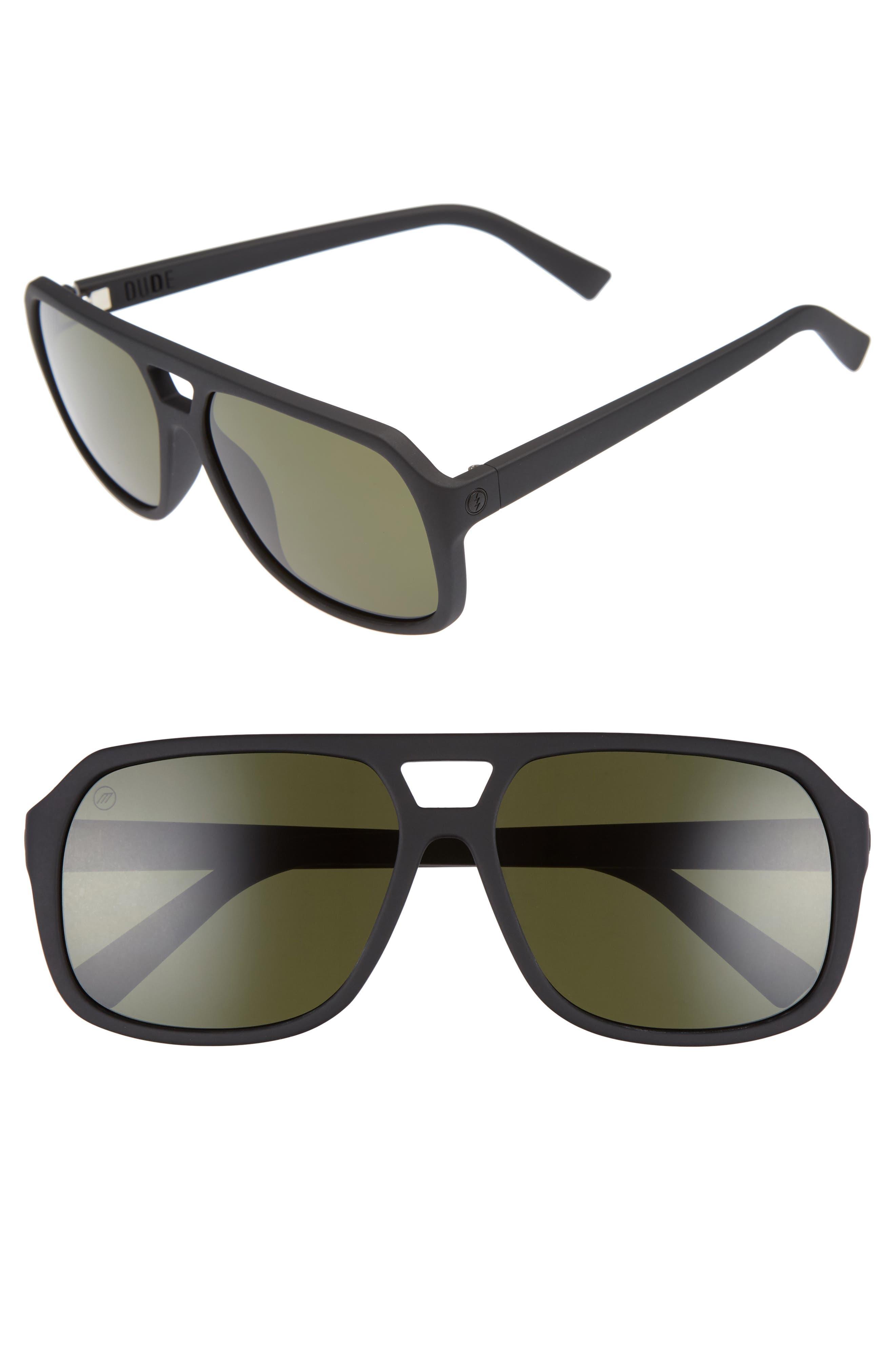 Dude 57mm Aviator Sunglasses,                         Main,                         color, Matte Black/ Grey