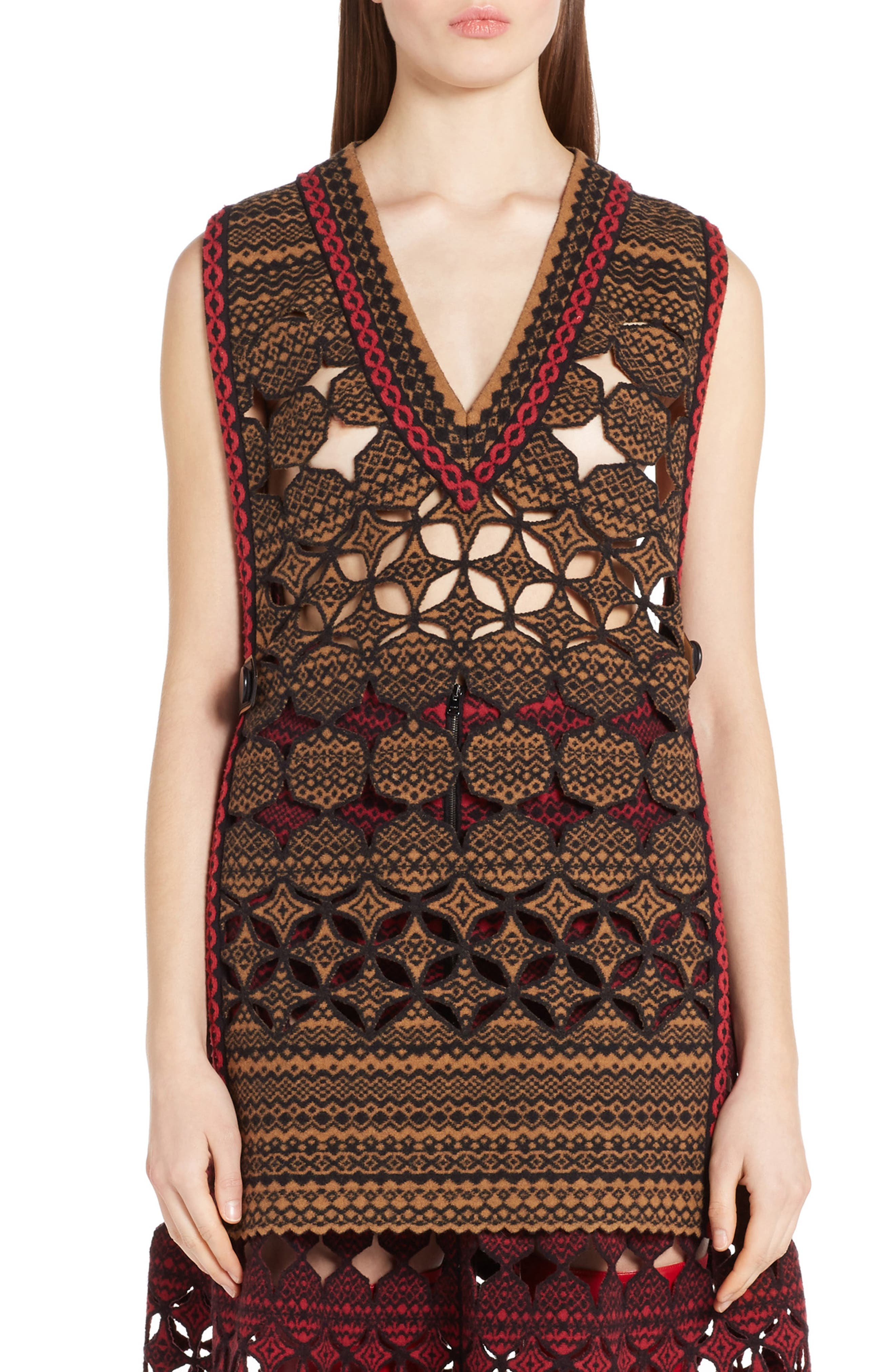 Fendi Fair Isle Wool Blend Knit Vest