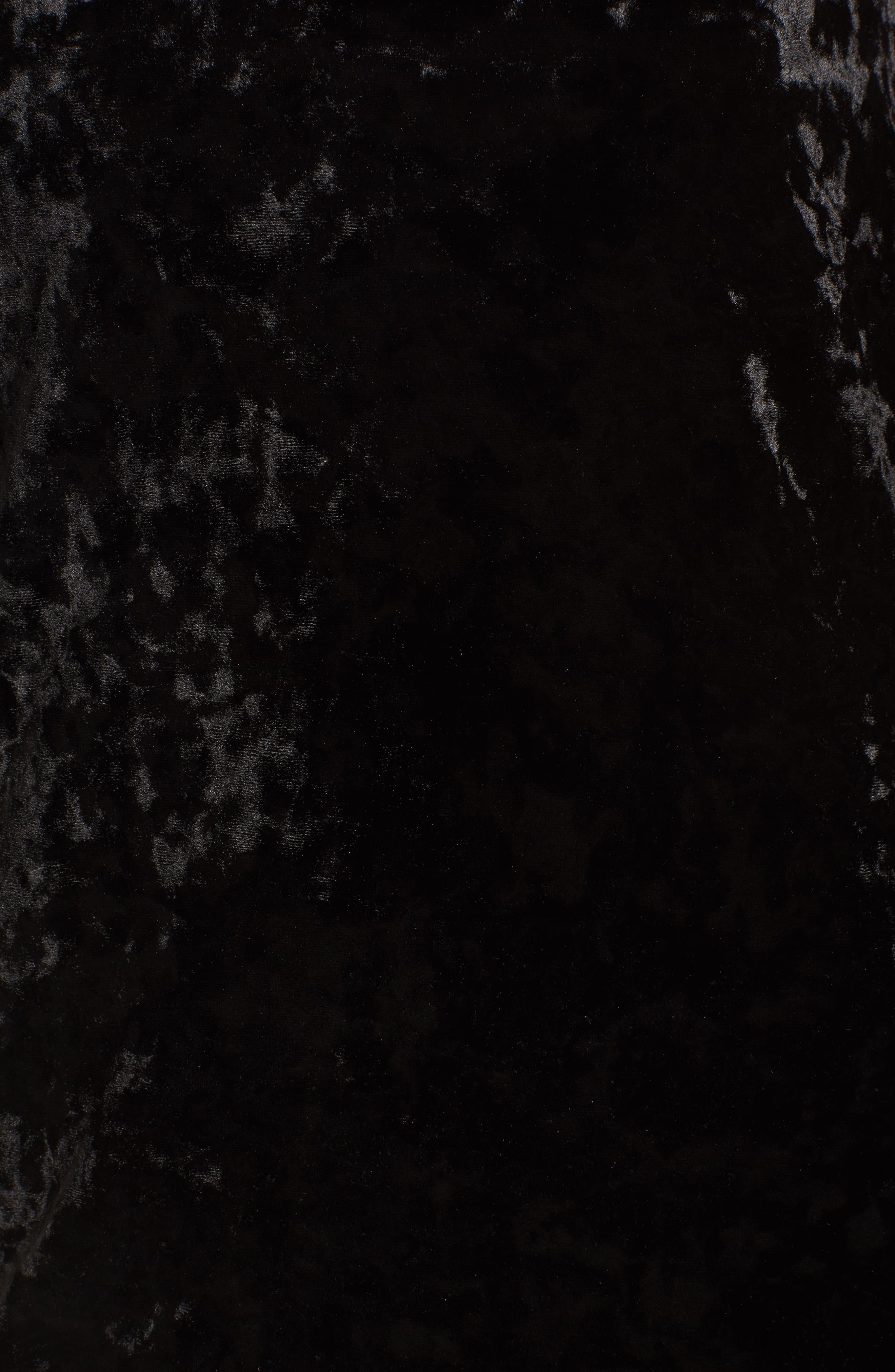 Velour Slipdress,                             Alternate thumbnail 5, color,                             Black