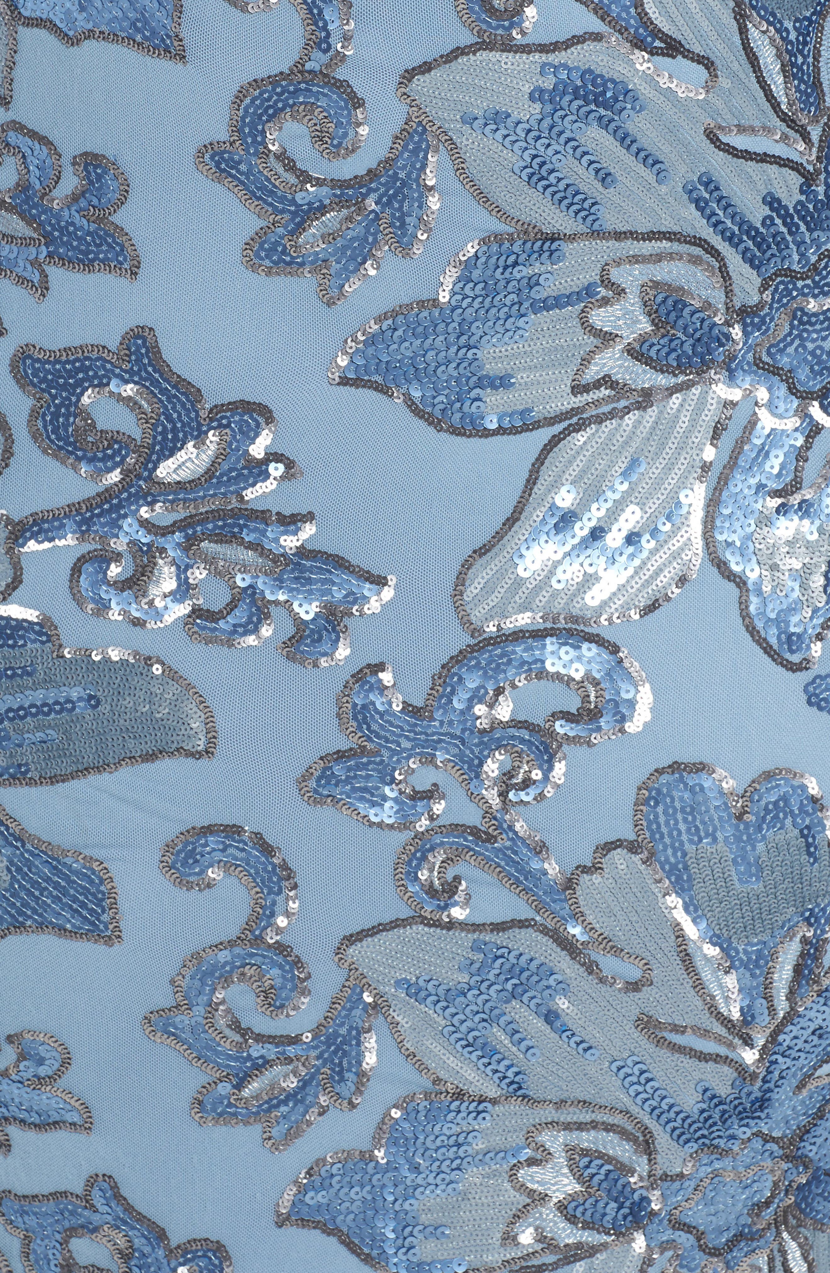 Sequin Faux Wrap Sheath Dress,                             Alternate thumbnail 5, color,                             Periwinkle