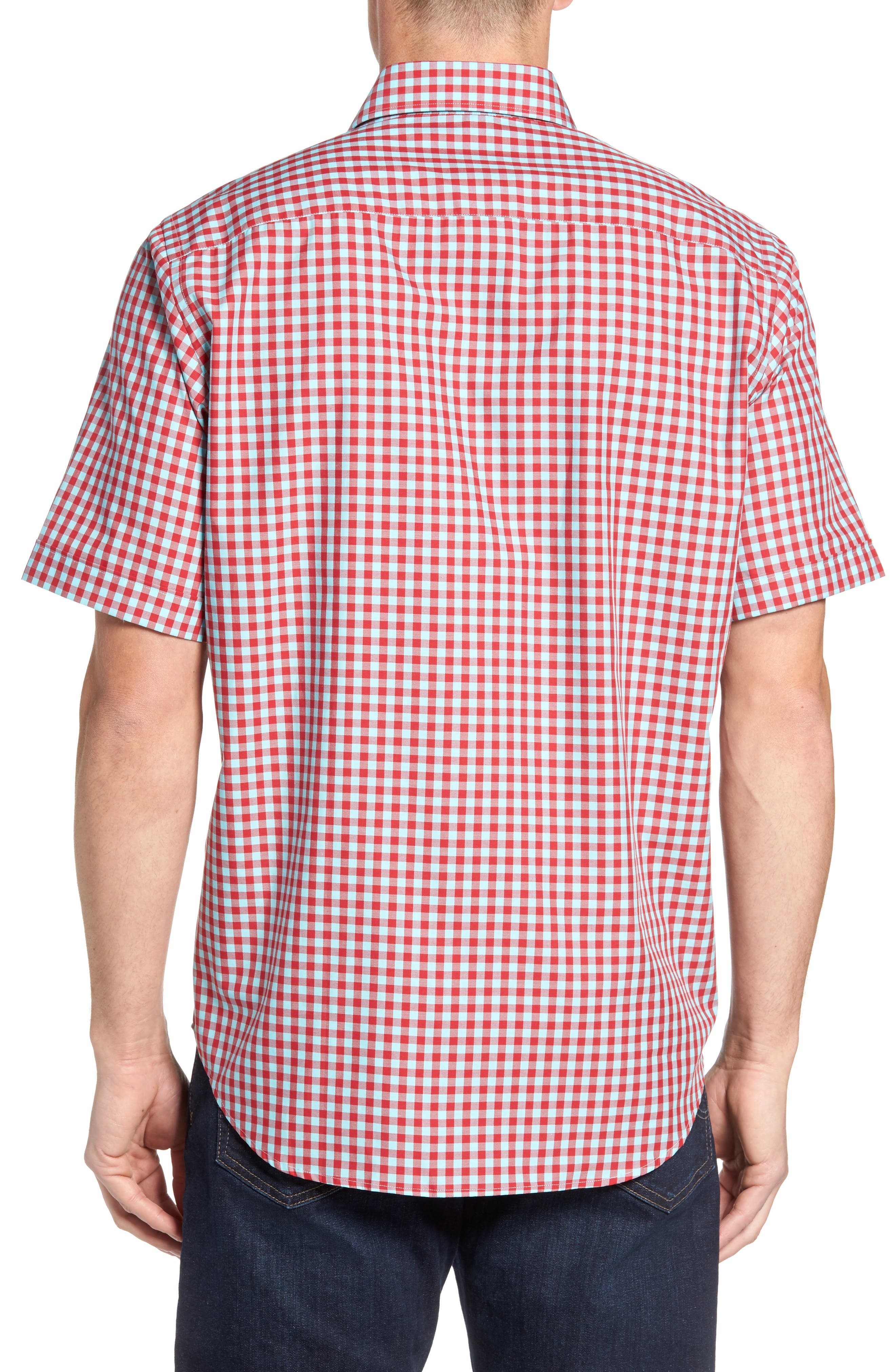 Classic Fit Gingham Short Sleeve Sport Shirt,                             Alternate thumbnail 2, color,                             Ruby