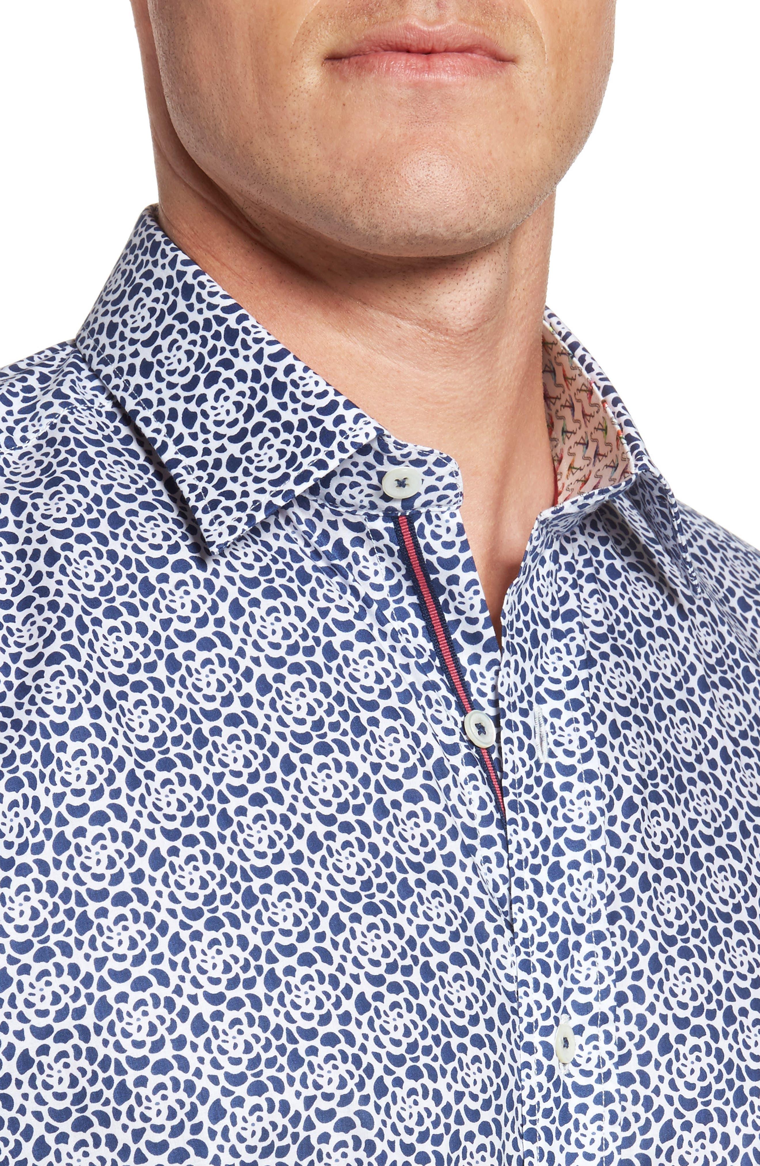 Classic Fit Print Short Sleeve Sport Shirt,                             Alternate thumbnail 4, color,                             Navy