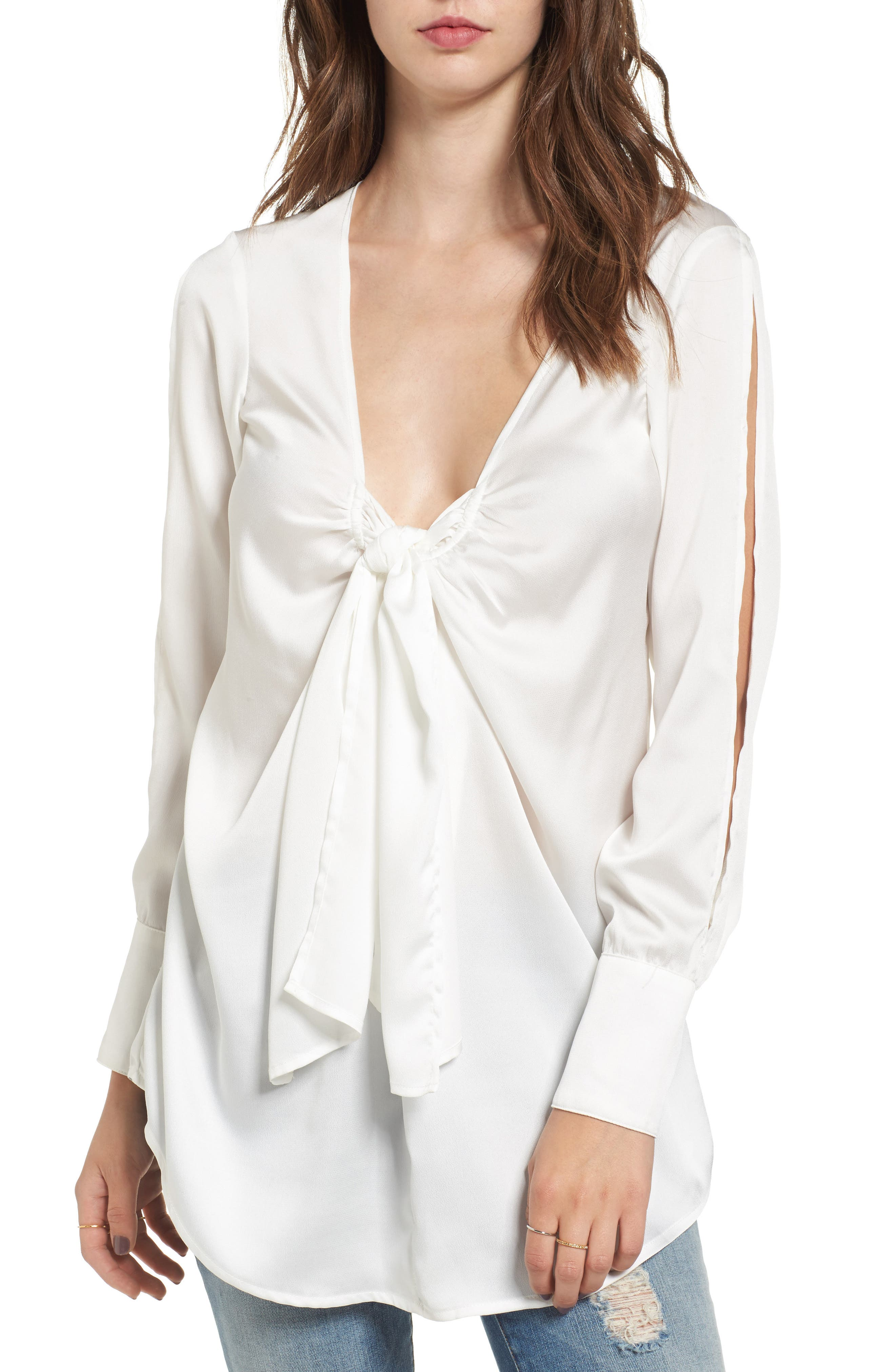 Knotted Hammered Satin Blouse,                             Main thumbnail 1, color,                             Ivory
