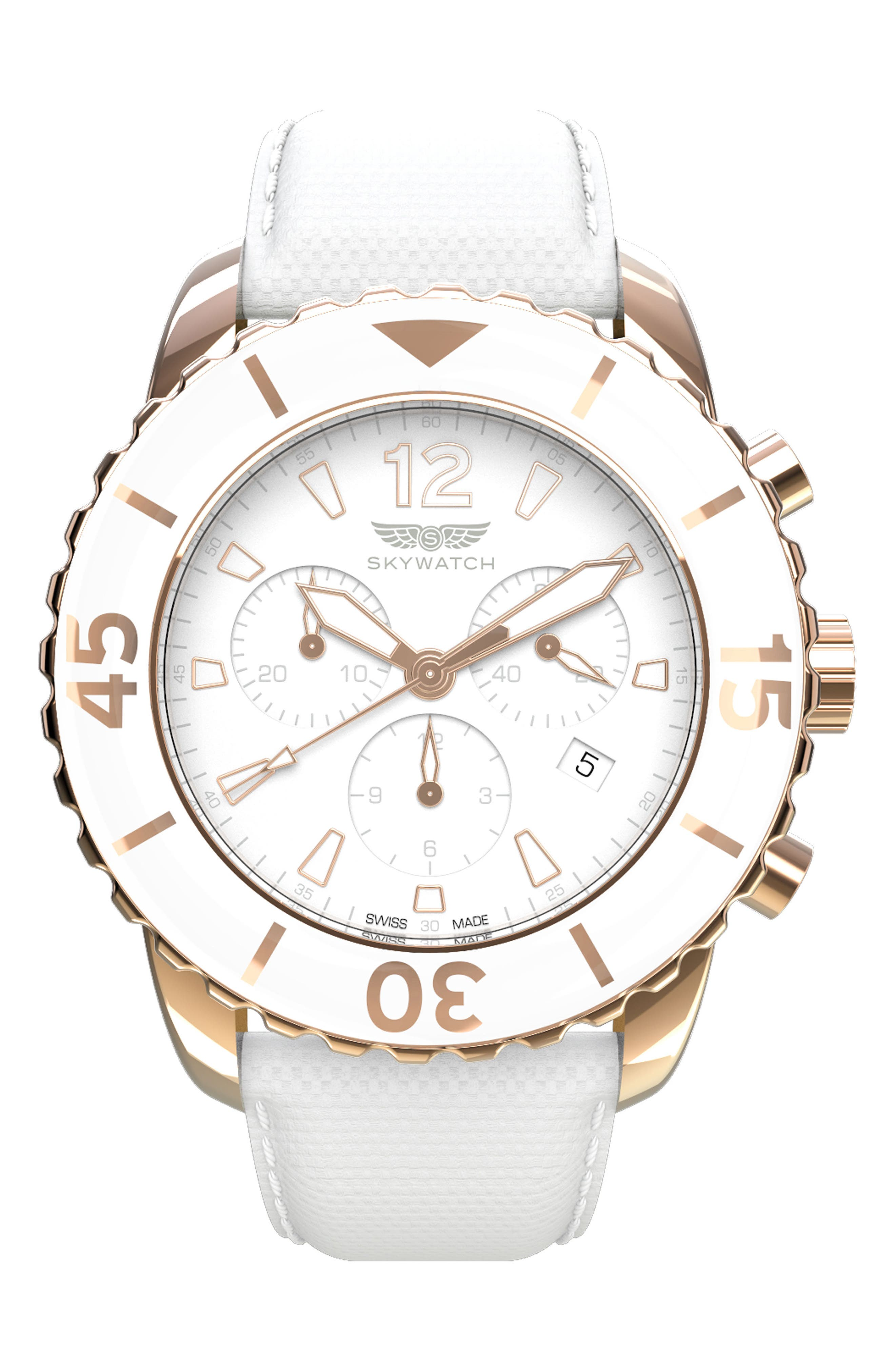 Classic Chronograph Woven Strap Watch, 44mm,                             Main thumbnail 1, color,                             White/ White