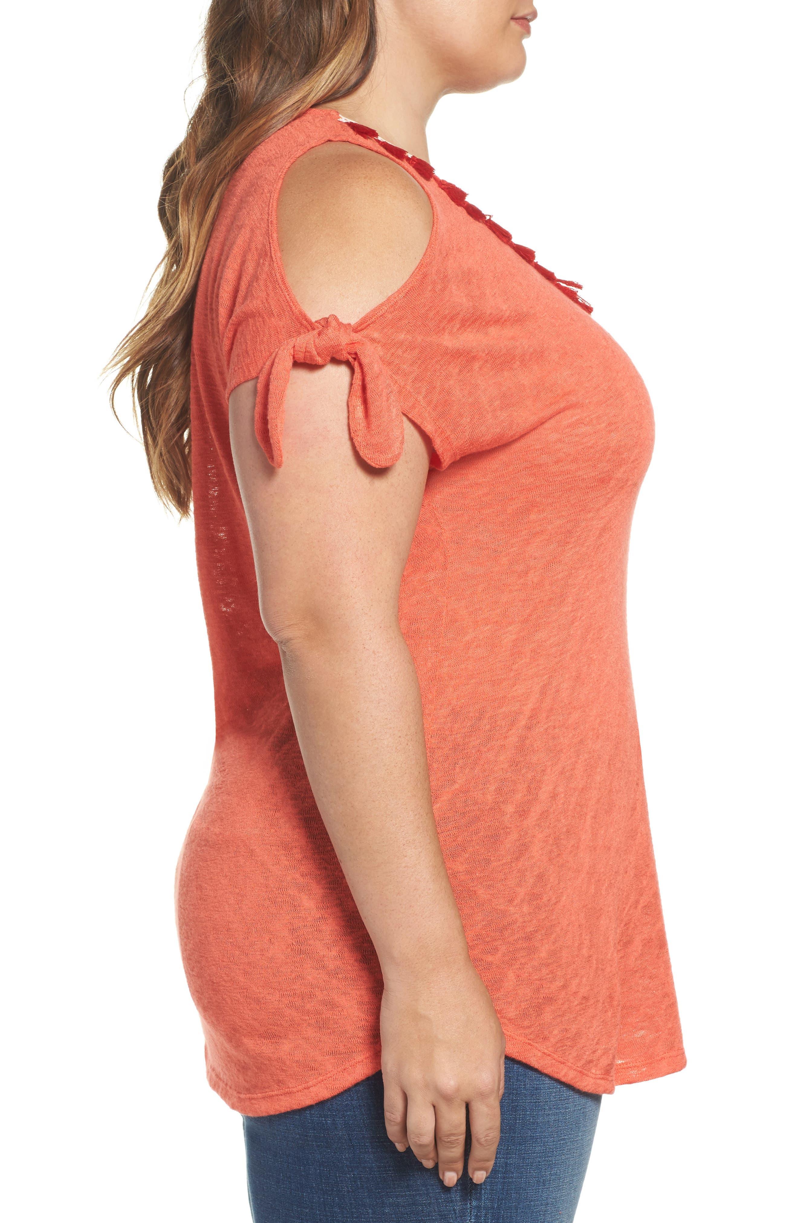 Tassel Trim Slub Knit Top,                             Alternate thumbnail 3, color,                             Orange