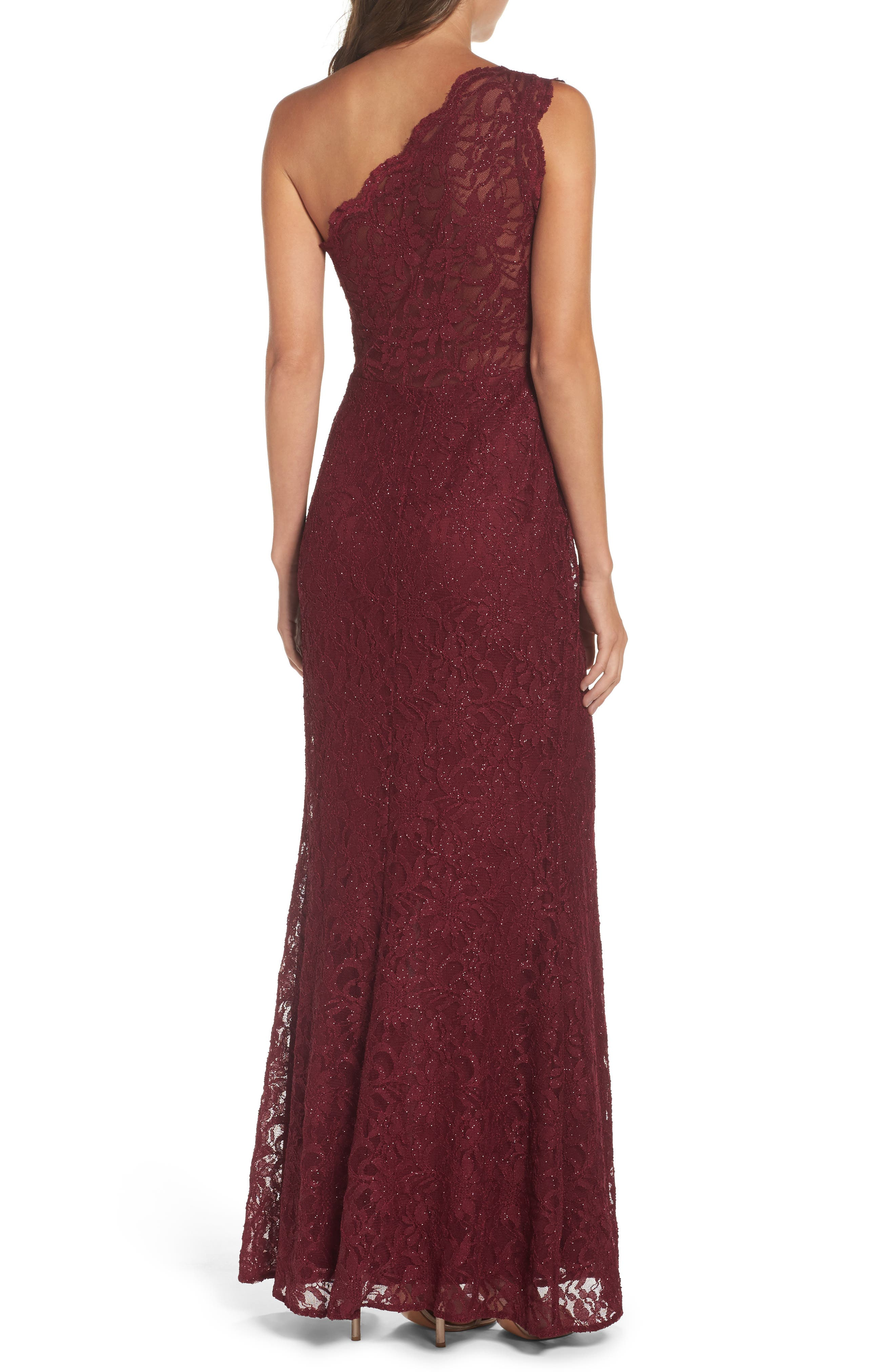 Alternate Image 2  - Morgan & Co. One-Shoulder Lace Gown