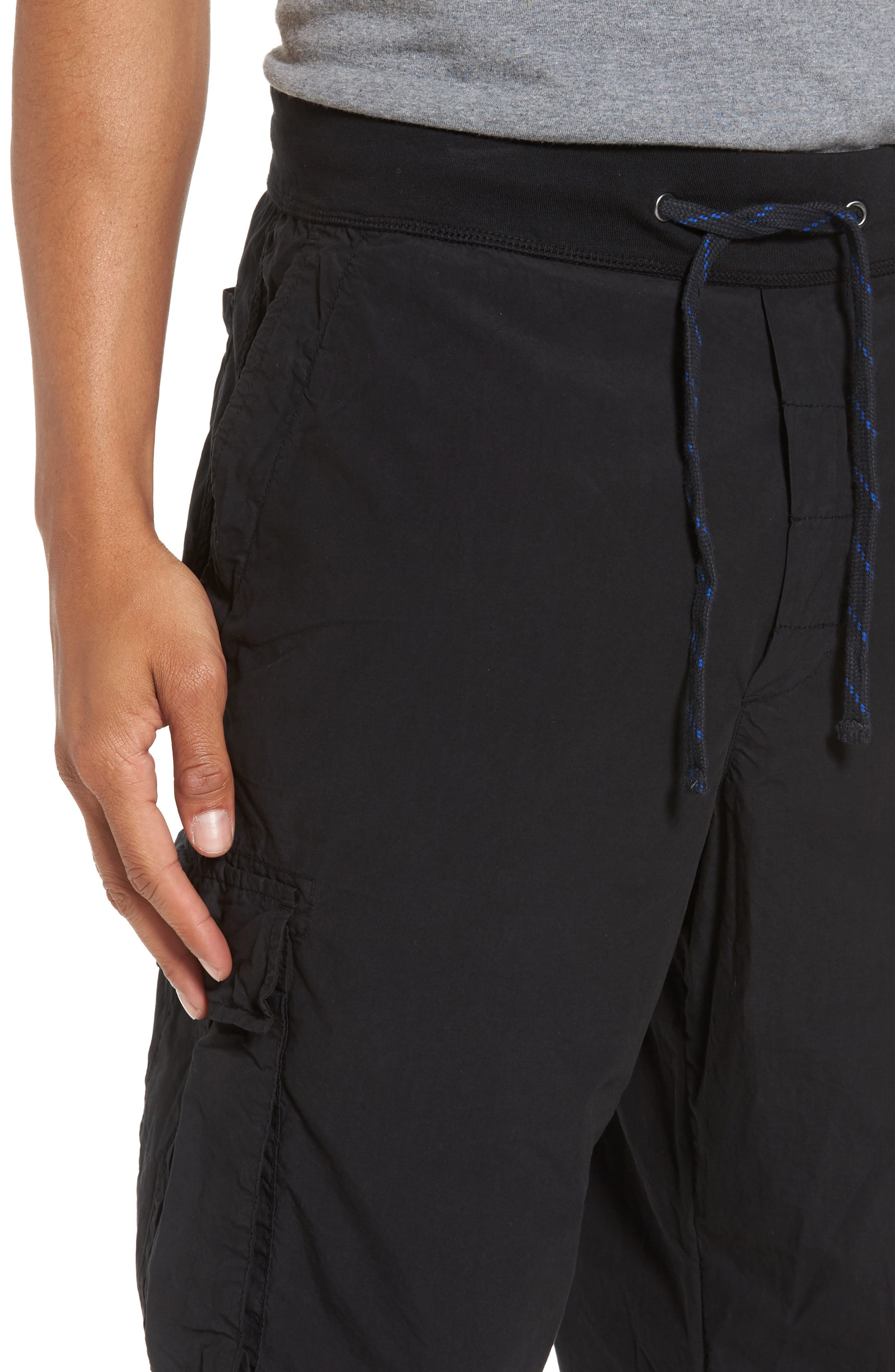 Contrast Waist Cargo Pants,                             Alternate thumbnail 4, color,                             Black