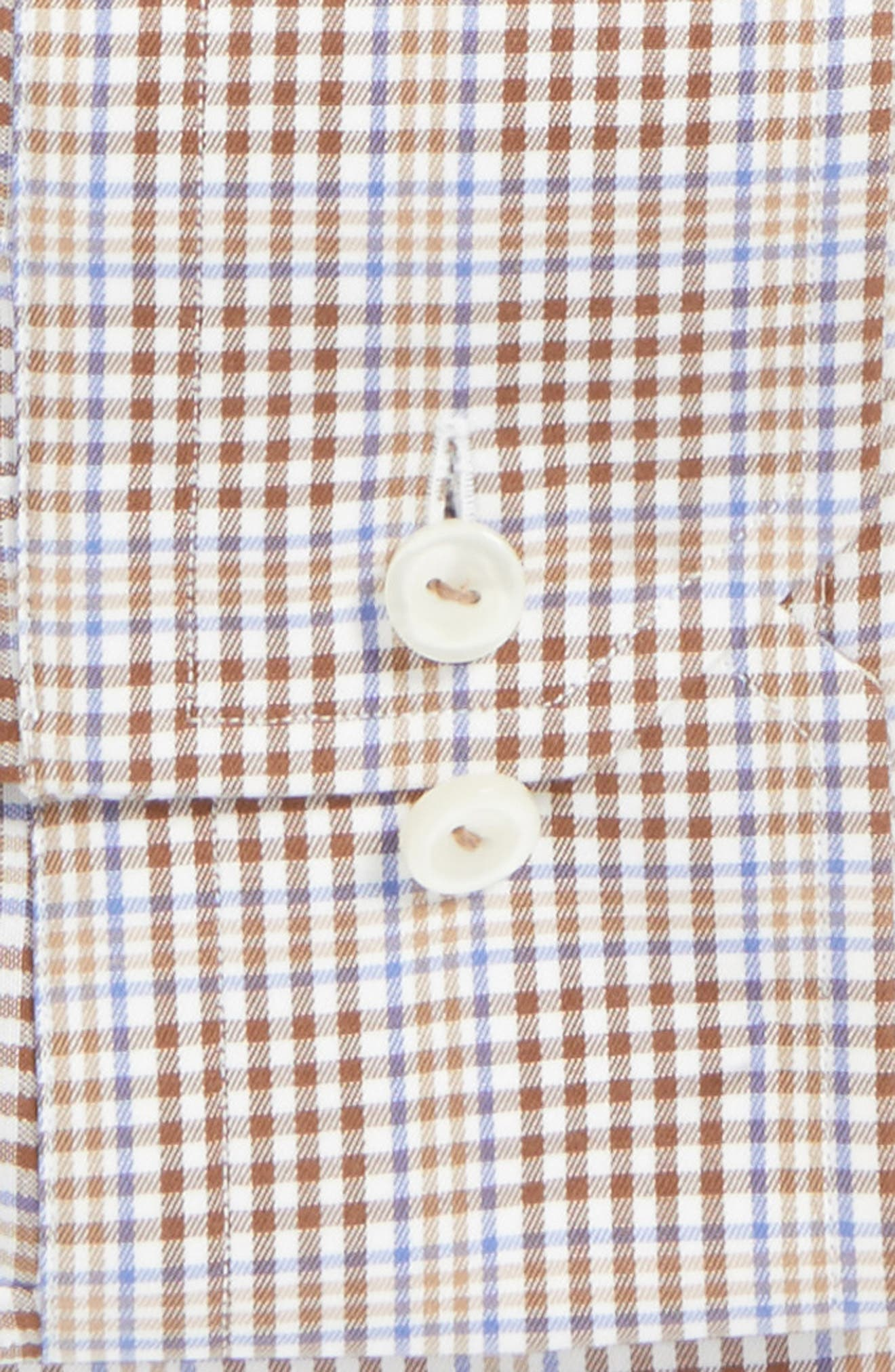 Slim Fit Plaid Dress Shirt,                             Alternate thumbnail 4, color,                             Brown