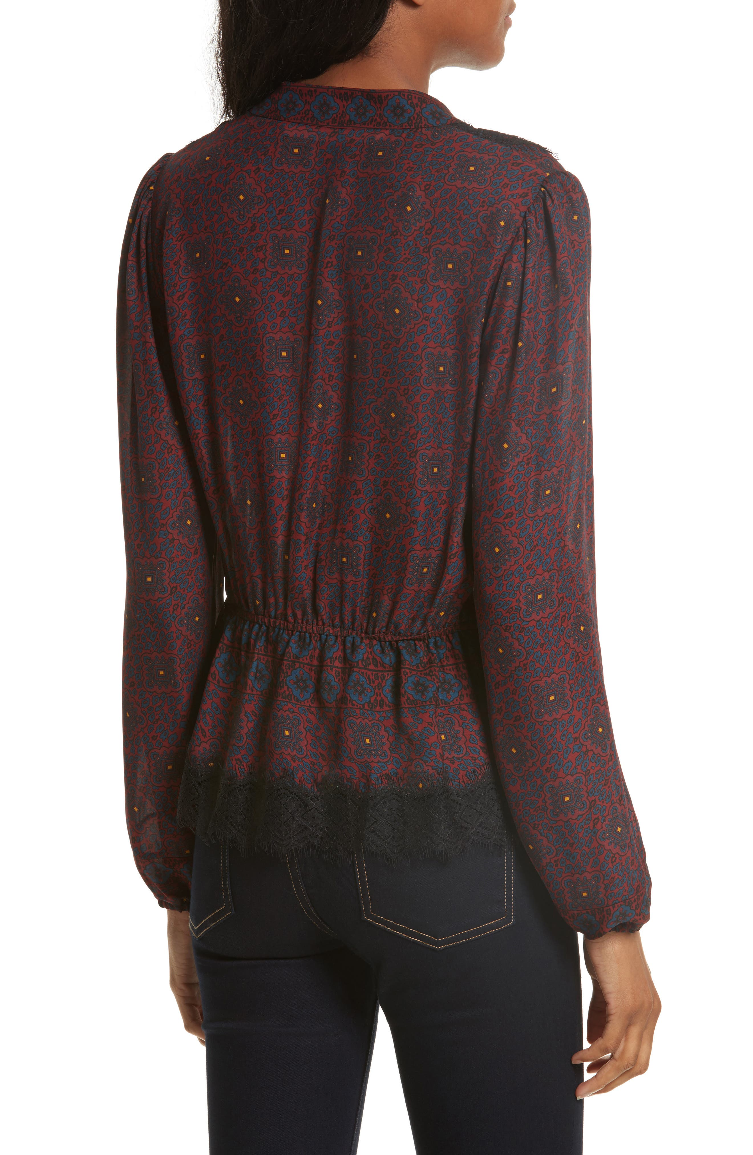 Lindberg Lace Trim Print Silk Blouse,                             Alternate thumbnail 3, color,                             Bordeaux/ Navy