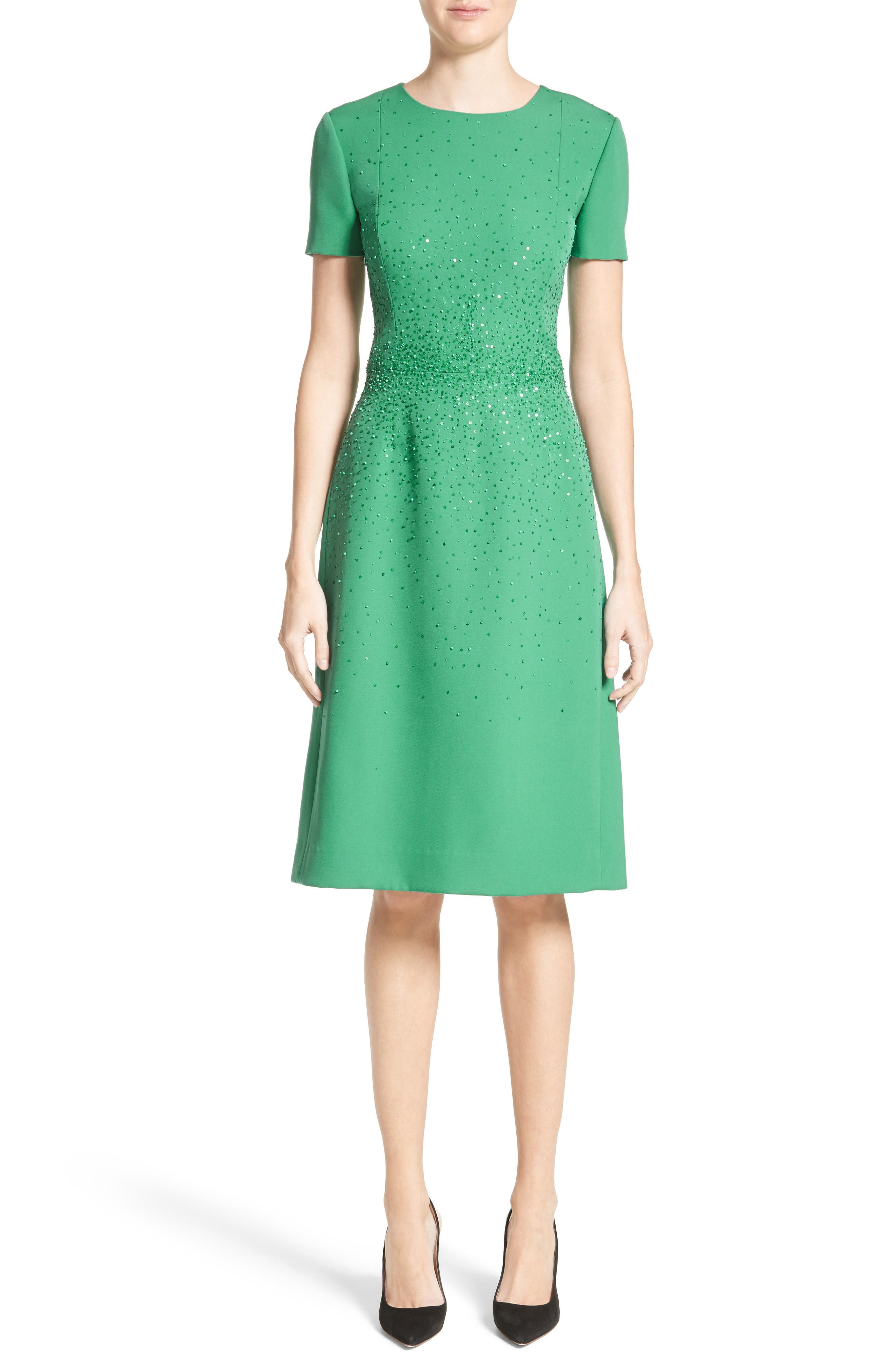 Beaded Stretch Wool Dress,                             Main thumbnail 1, color,                             Green