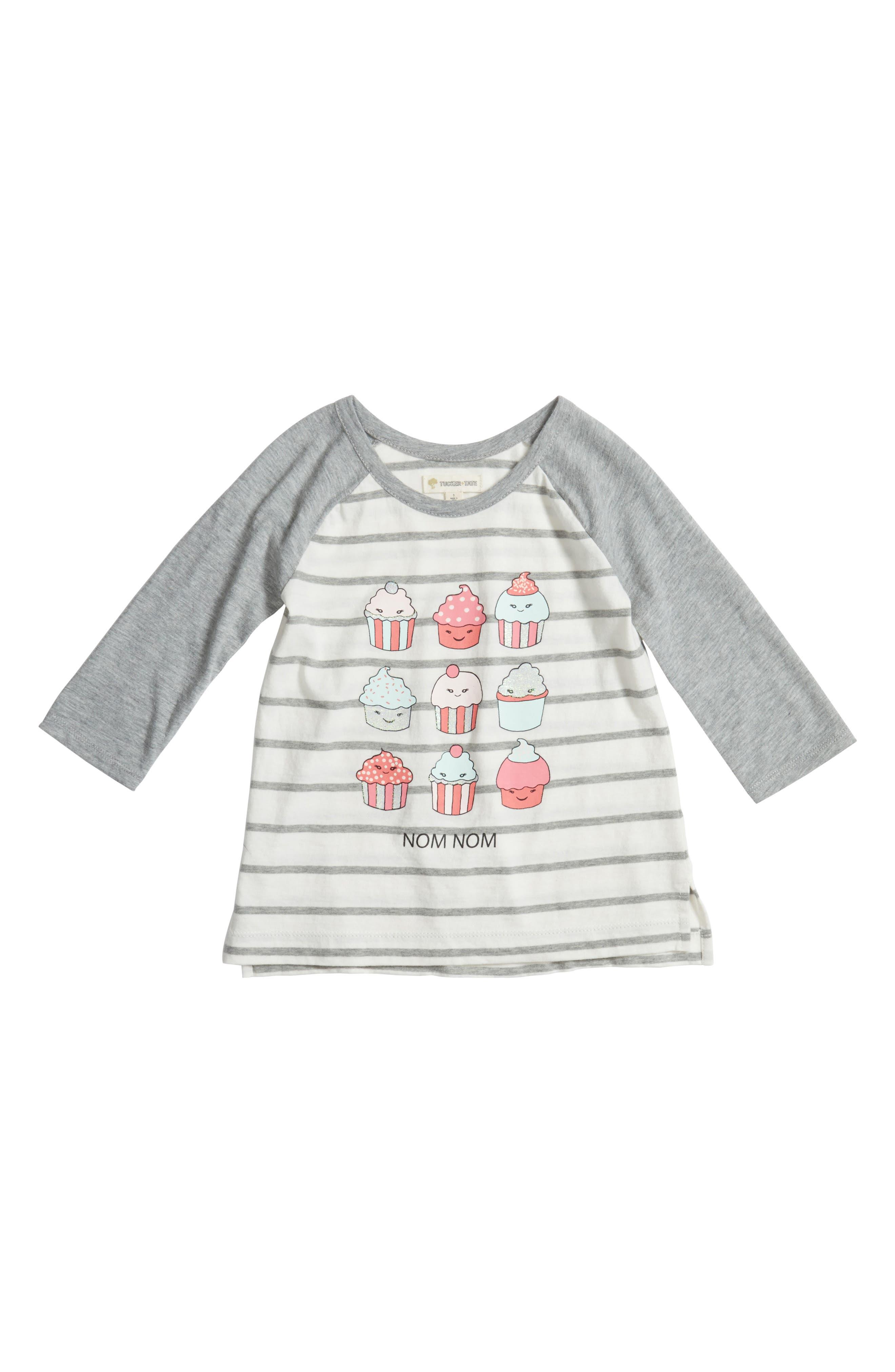 Main Image - Tucker + Tate Stripe Raglan Graphic Tee (Toddler Girls, Little Girls & Big Girls)
