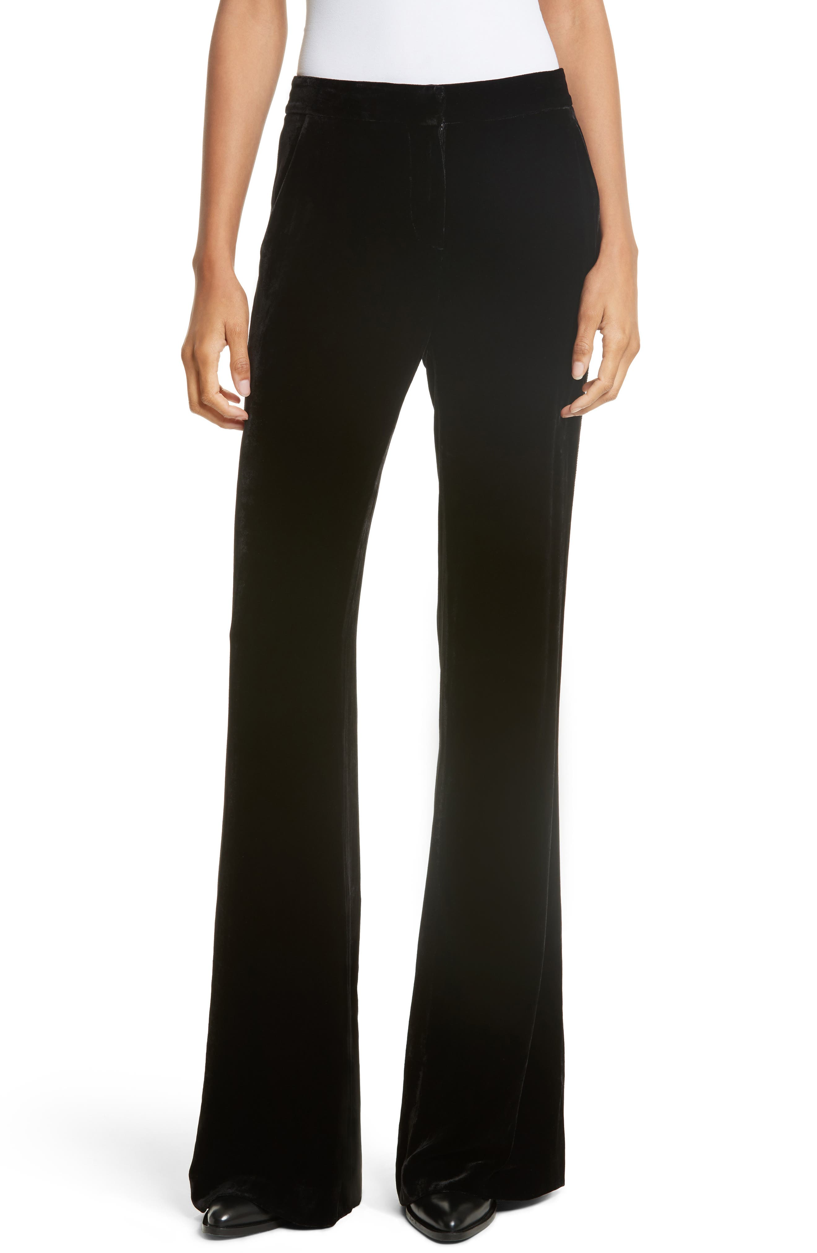 Veronica Beard Ramsey Velvet Wide Leg Tuxedo Pants