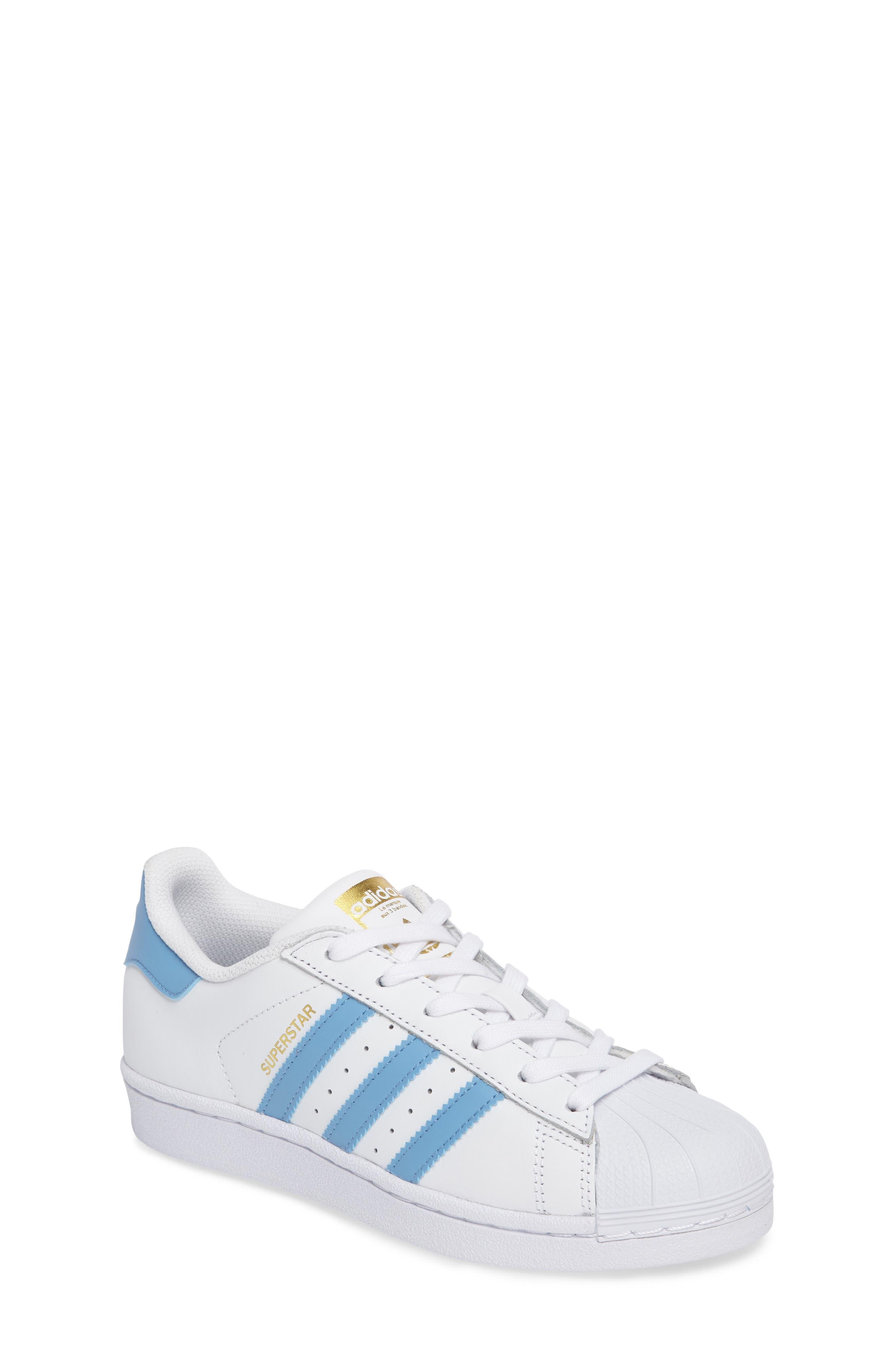 Superstar Foundation Sneaker,                             Main thumbnail 1, color,                             White/ Light Blue/ Gold