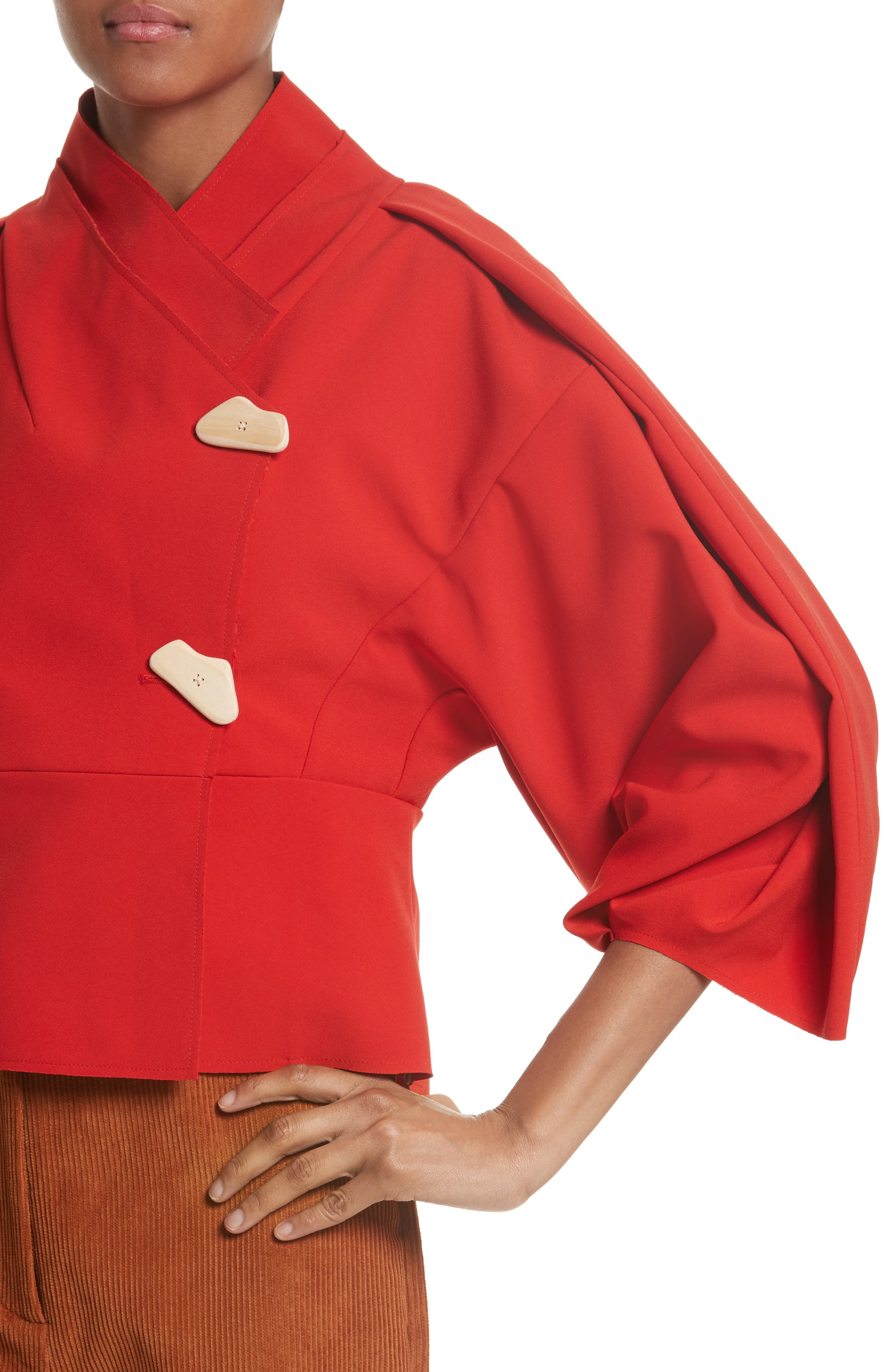 Twisted Sleeve Top,                             Alternate thumbnail 4, color,                             Red