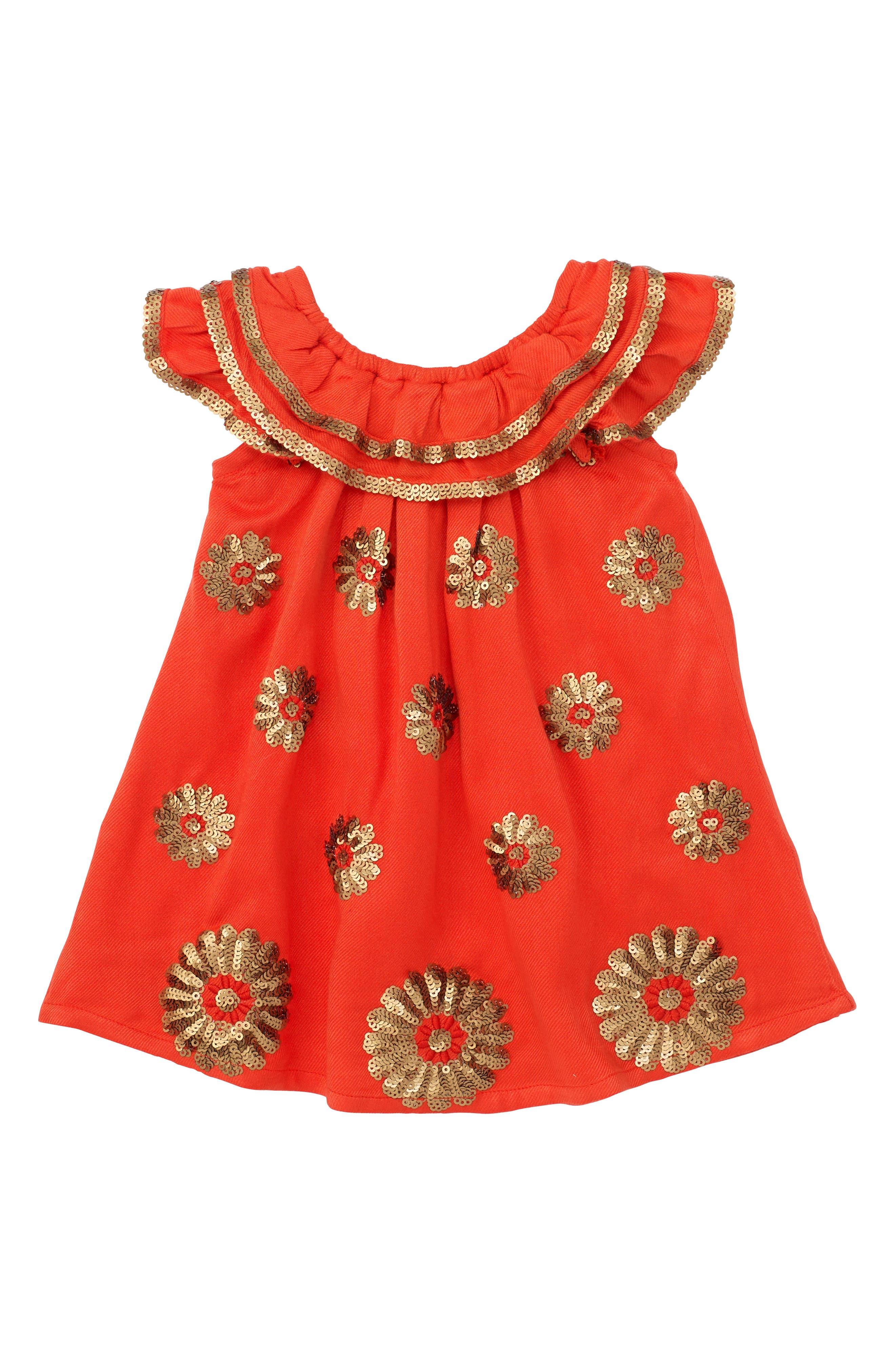 Main Image - Masalababy Dahlia Flutter Sleeve Dress (Baby Girls)