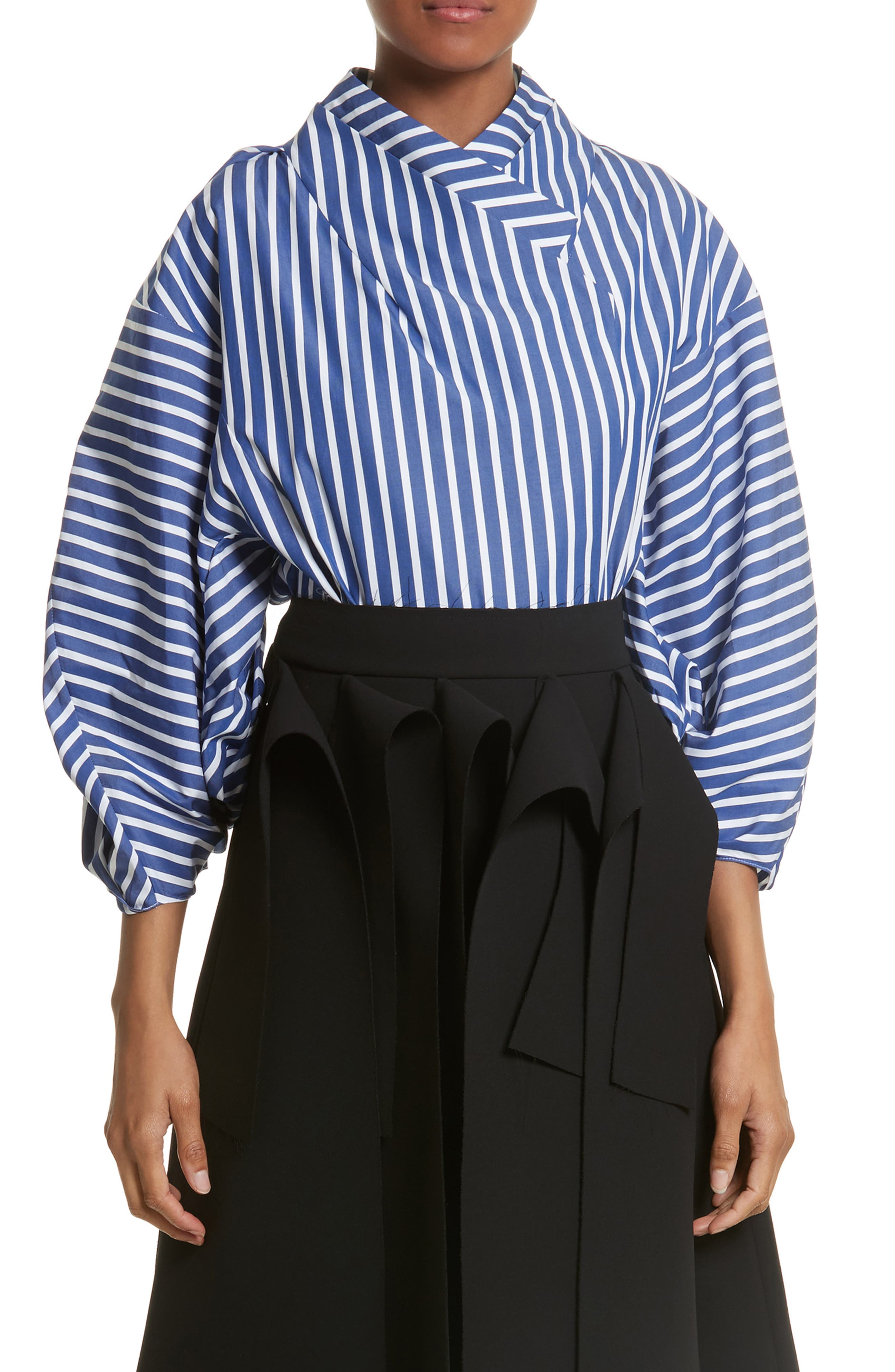 Twisted Sleeve Blouse,                         Main,                         color, Blue