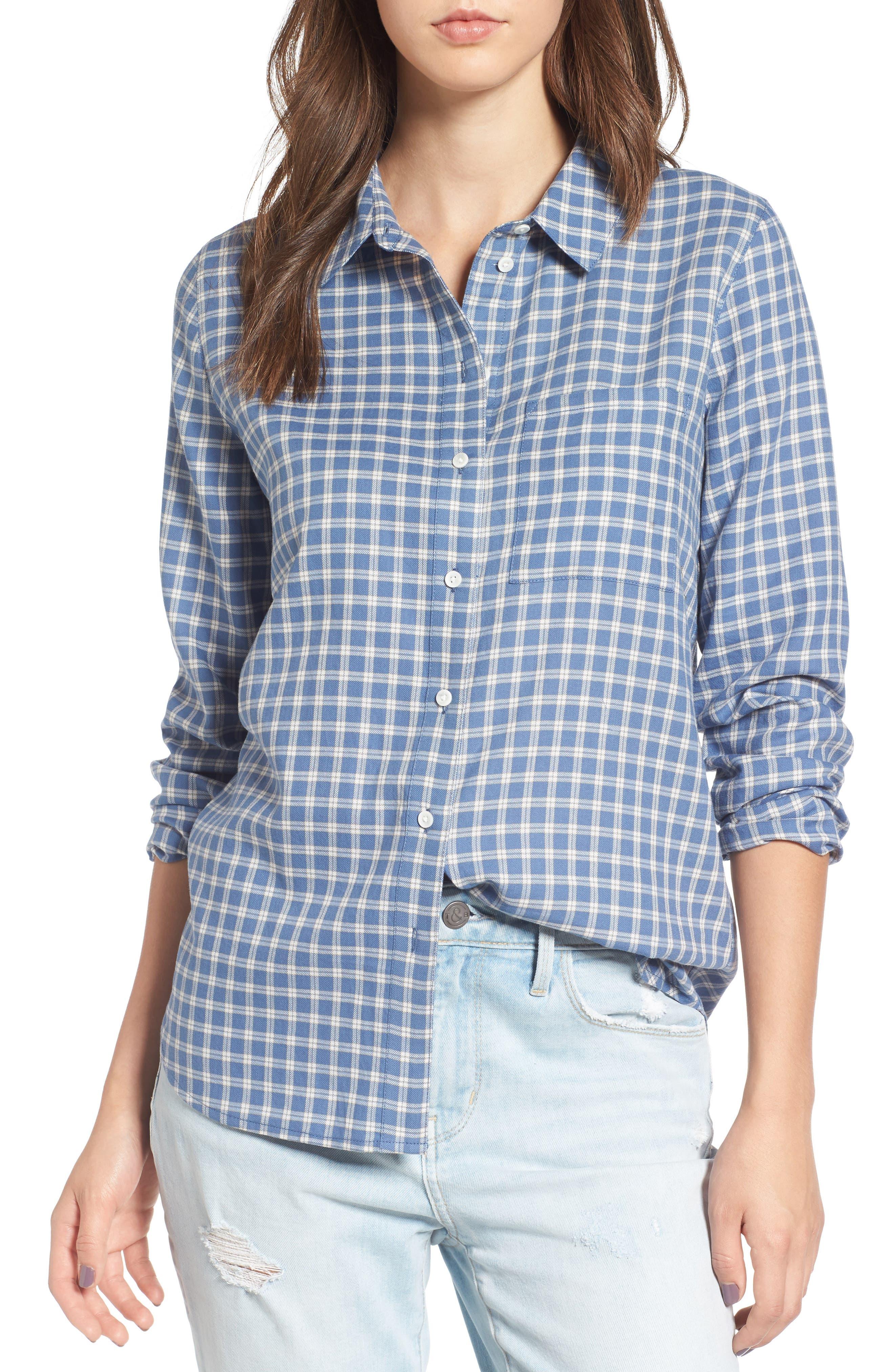 Classic Plaid Shirt,                             Main thumbnail 1, color,                             Blue Moonlight Grid Check
