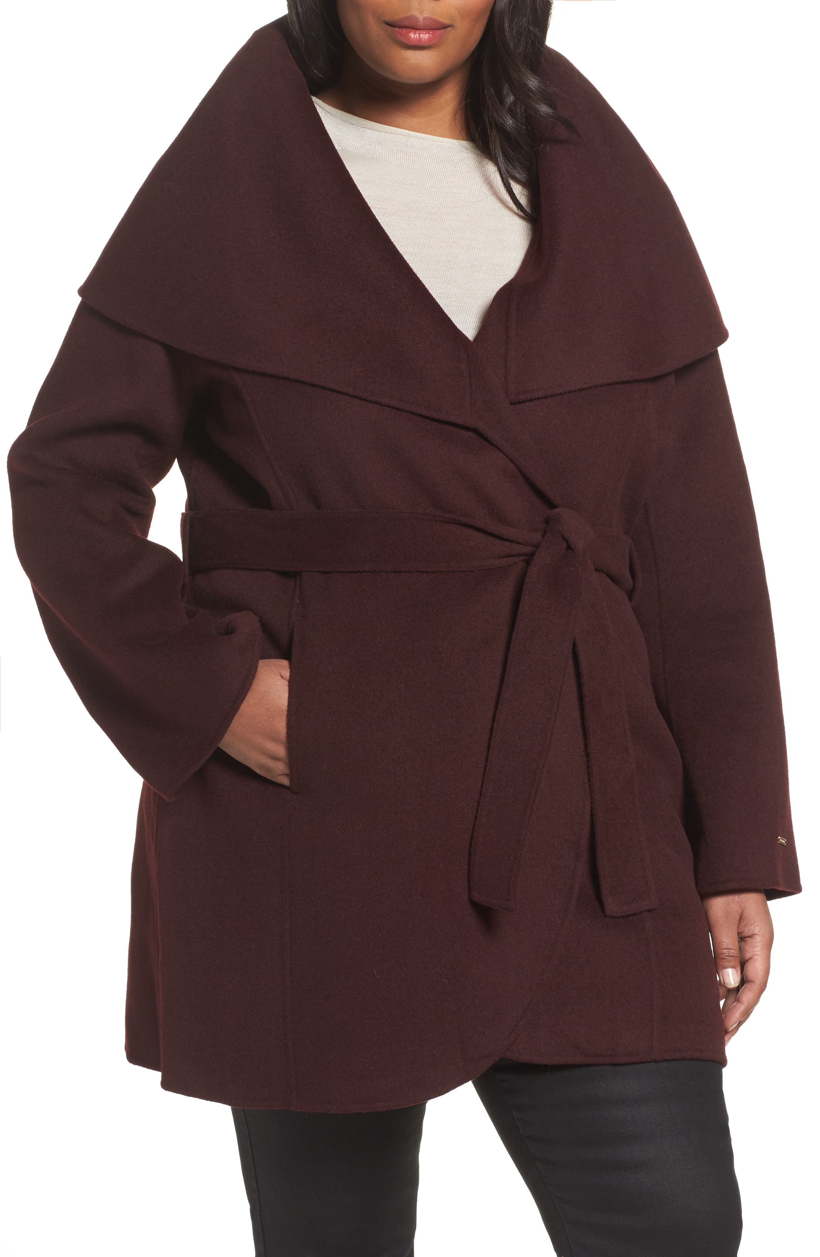 Main Image - Tahari Maria Double Face Wool Blend Wrap Coat (Plus Size)