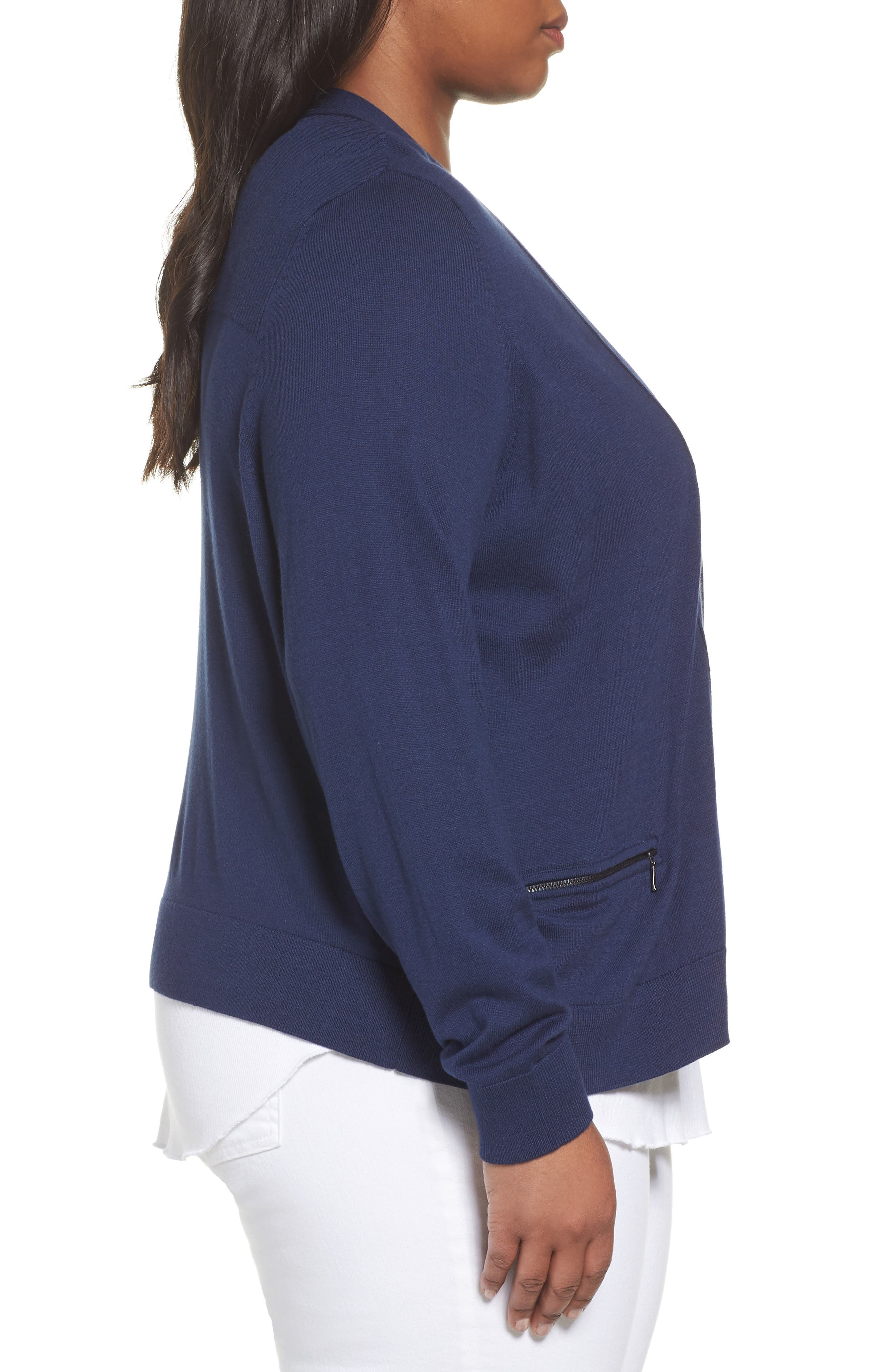 Crop Open Front Cardigan,                             Alternate thumbnail 3, color,                             Navy Medieval