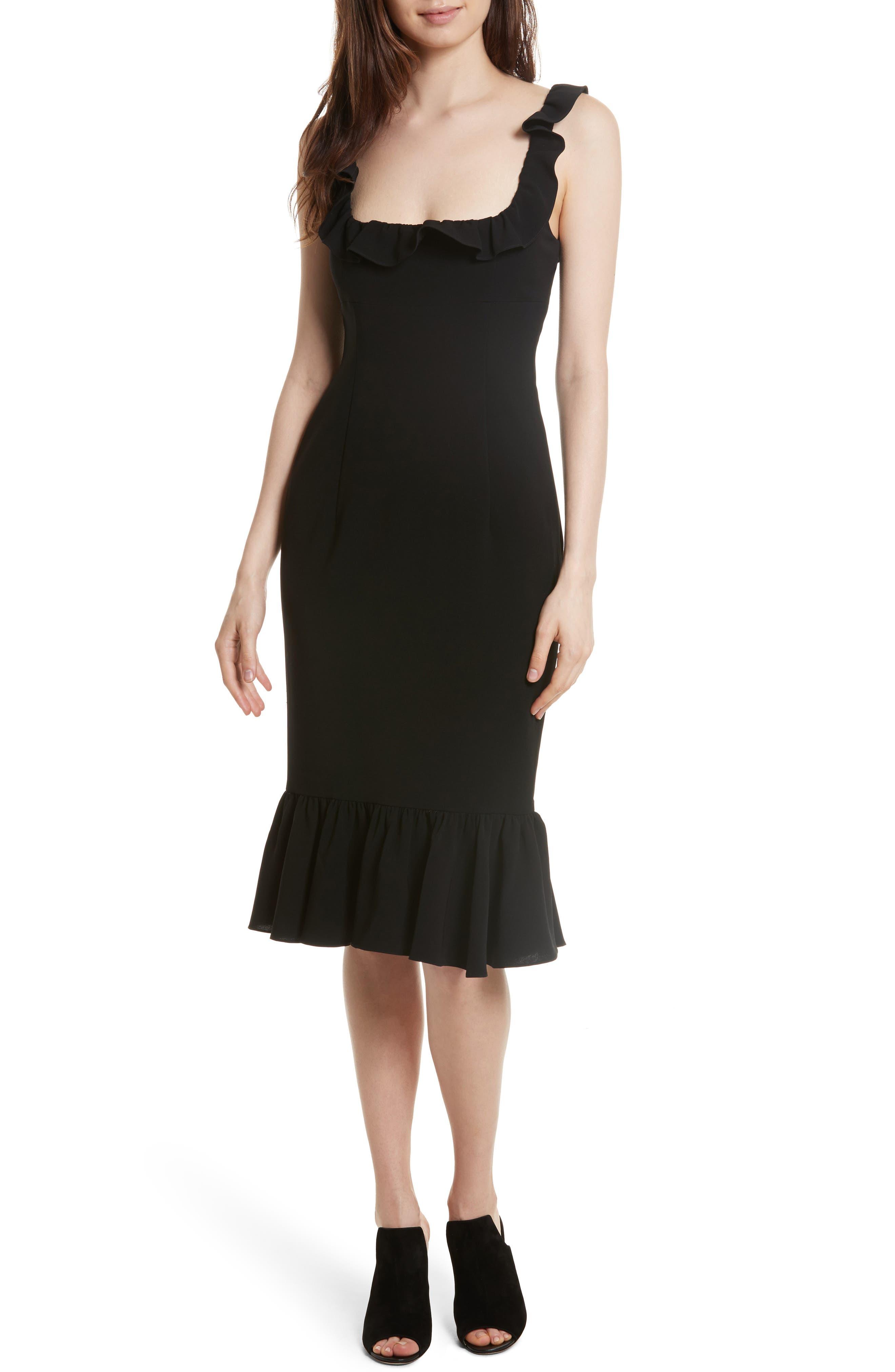 Opalina Flounce Hem Dress,                         Main,                         color, Black