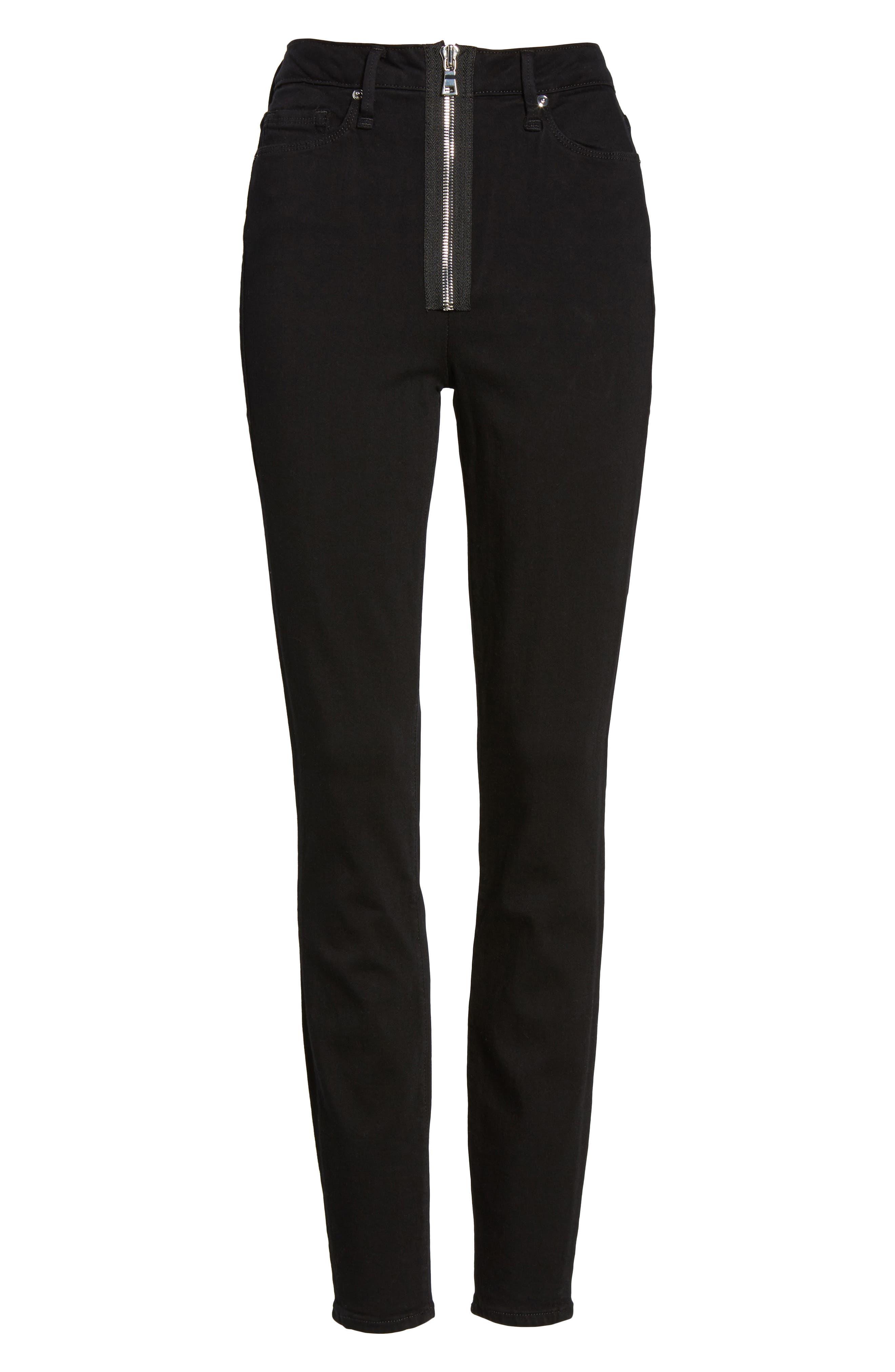 Good Waist Exposed Zip Skinny Jeans,                             Alternate thumbnail 6, color,                             Black001