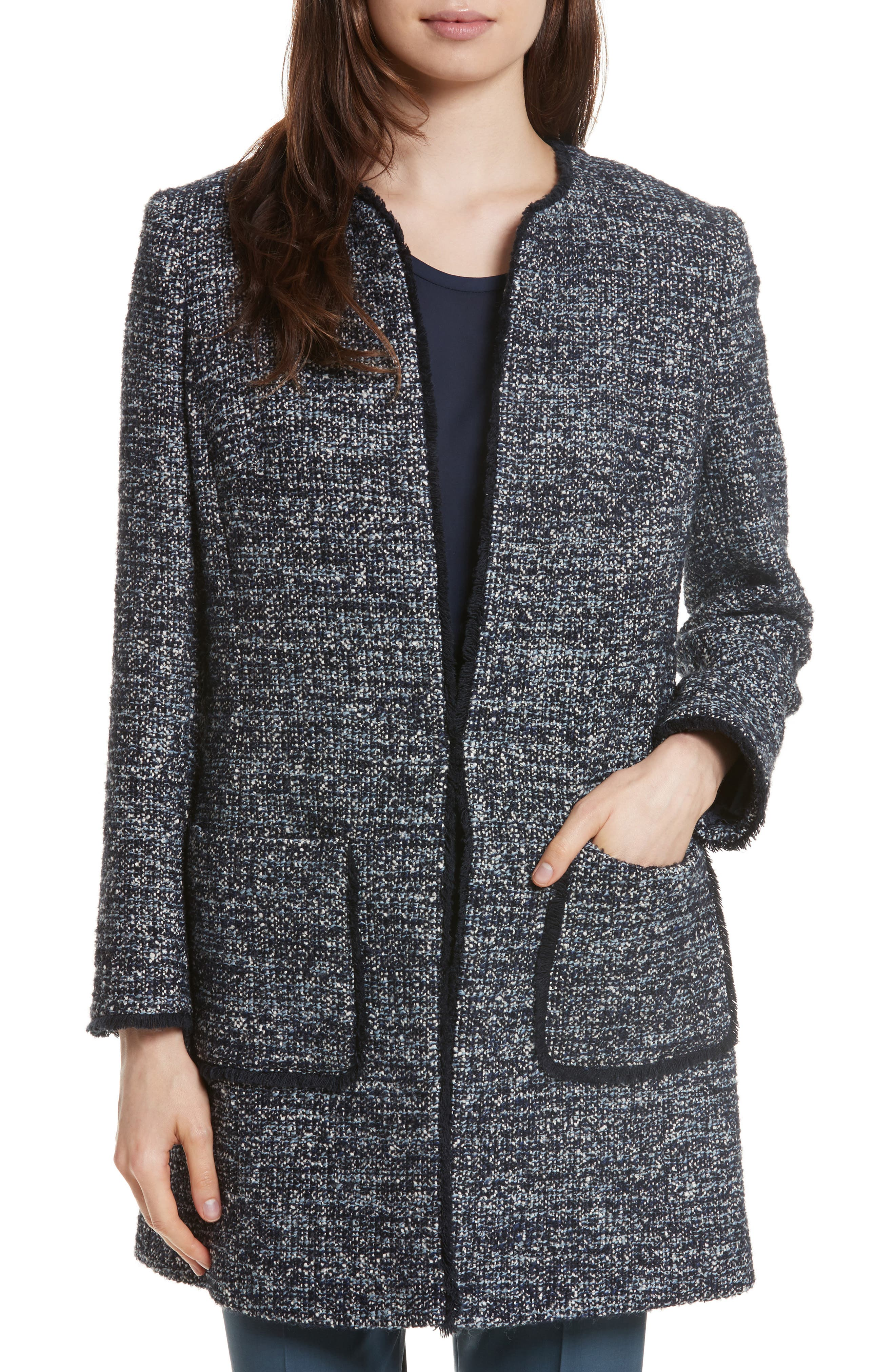 Alice Tweed Jacket,                         Main,                         color, Navy/ Pale Blue