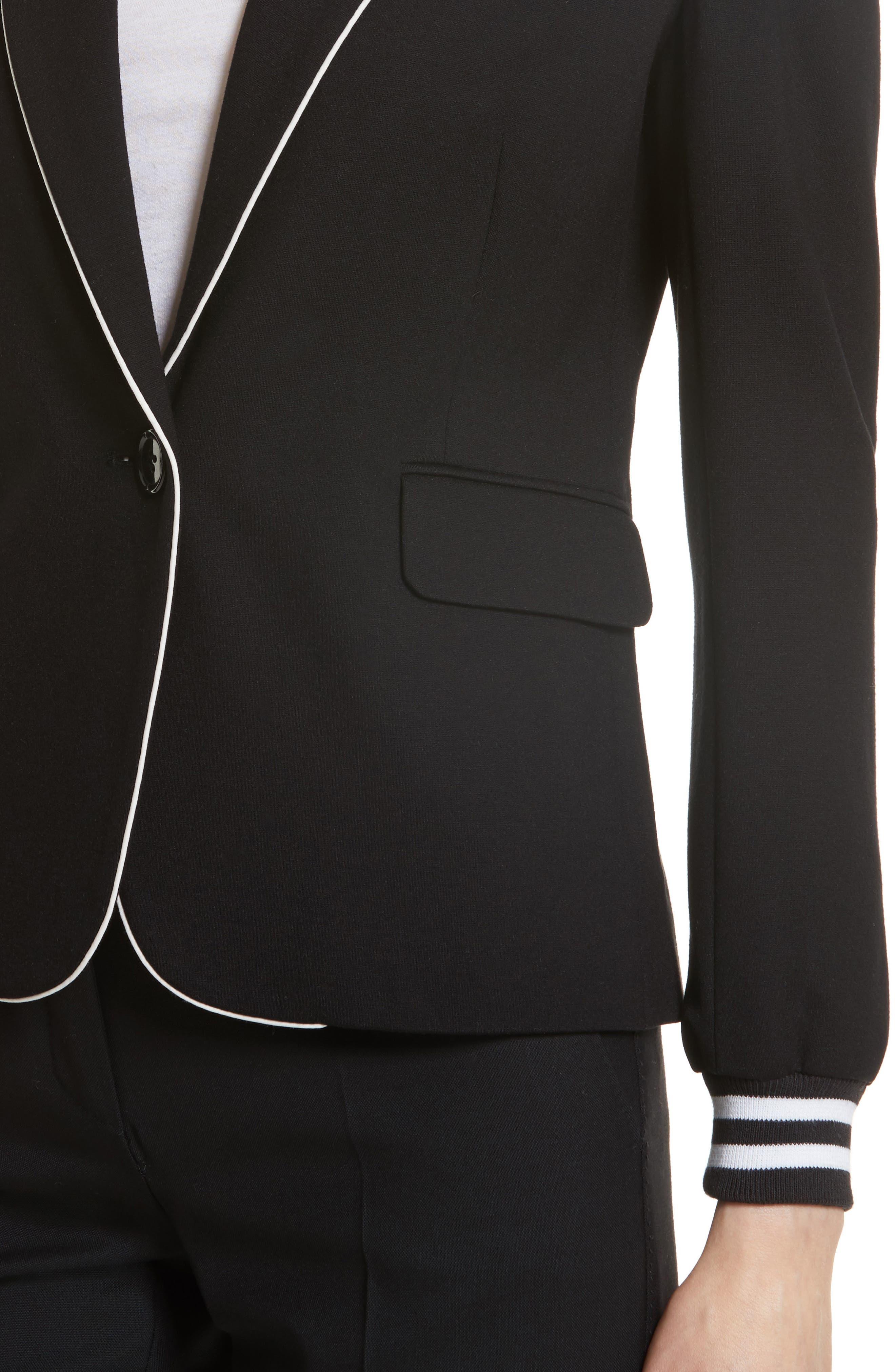 Piped Jersey Blazer,                             Alternate thumbnail 4, color,                             Black/ White