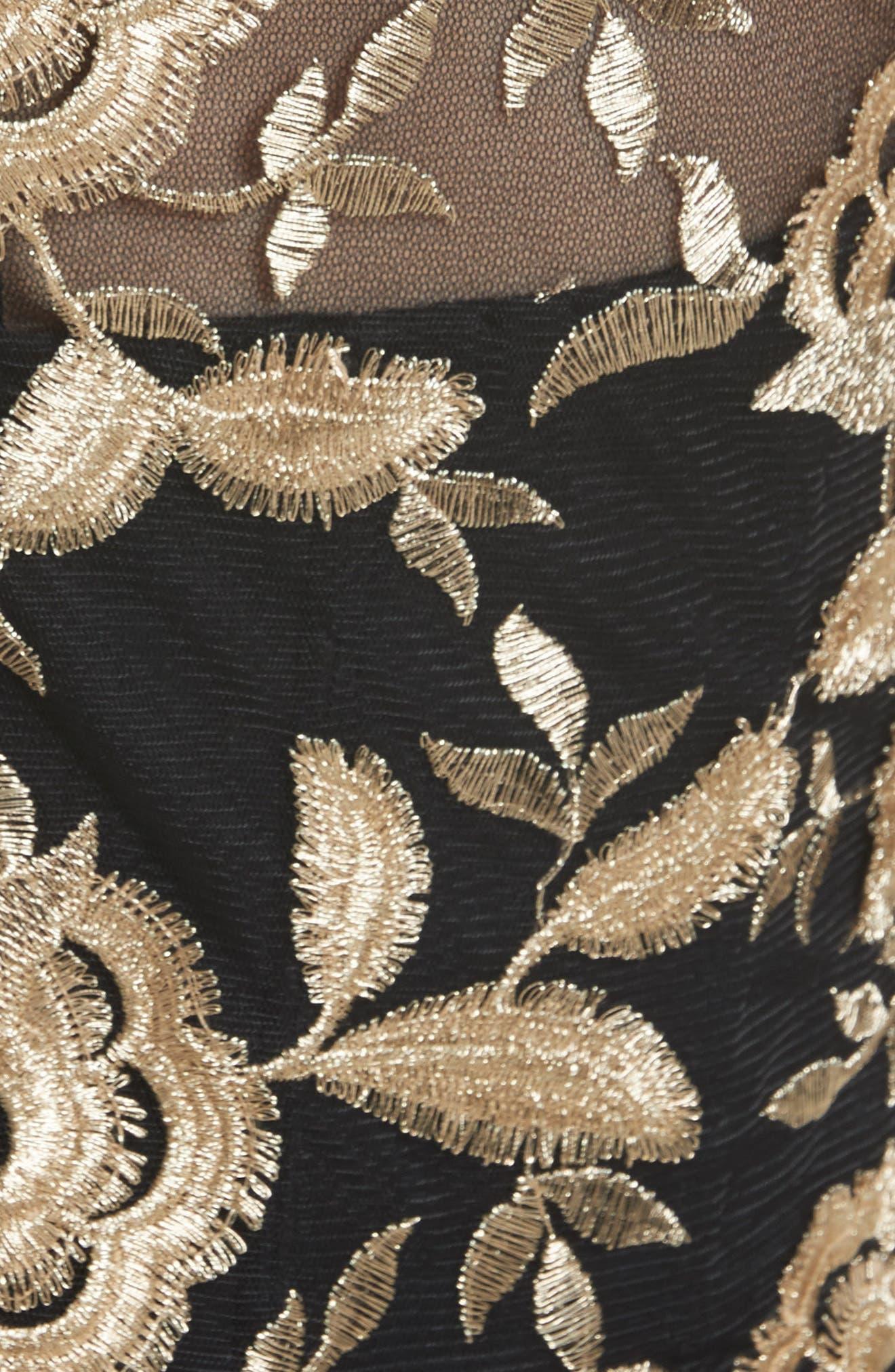 Embroidered Gazar Fit & Flare Dress,                             Alternate thumbnail 3, color,                             Noir/ Gold