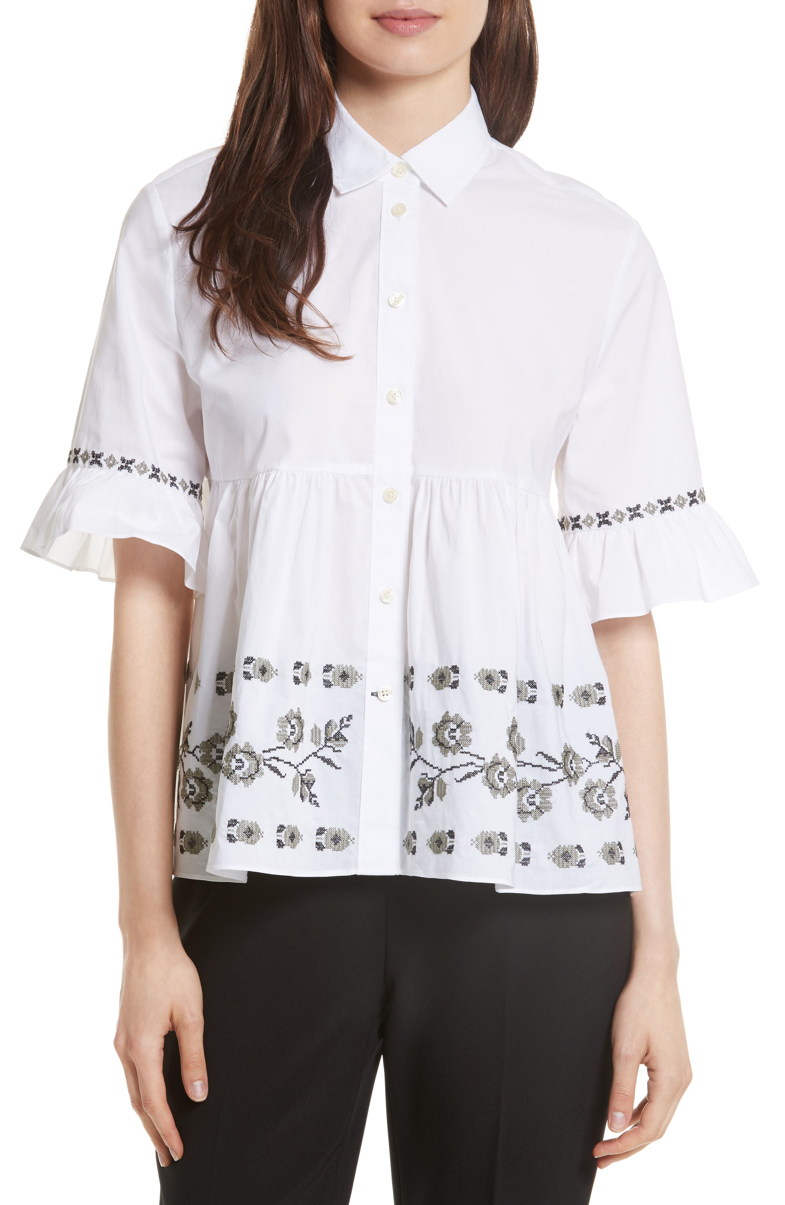 embroidered ruffle shirt,                         Main,                         color, White
