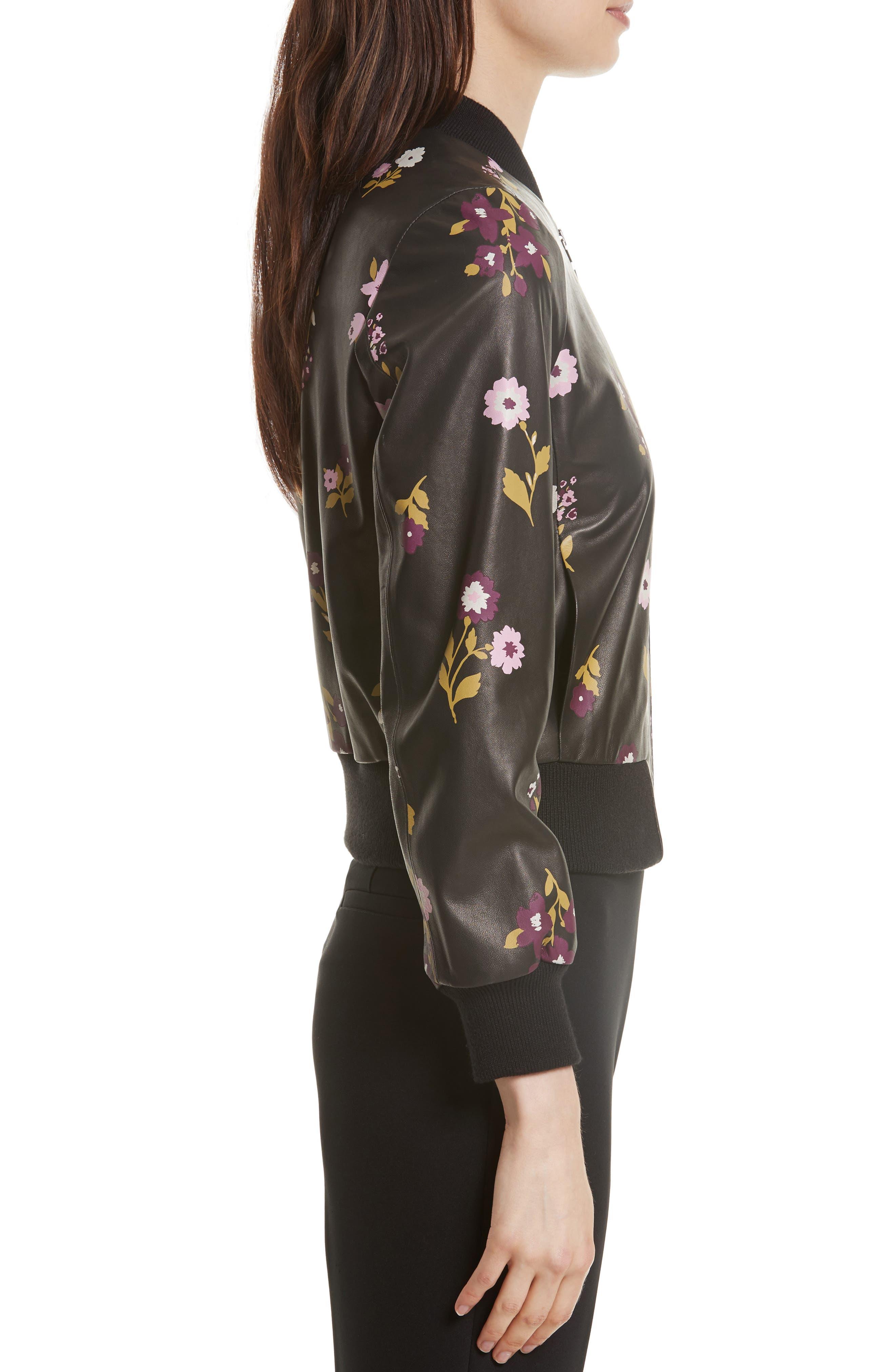 in bloom leather bomber jacket,                             Alternate thumbnail 3, color,                             Black