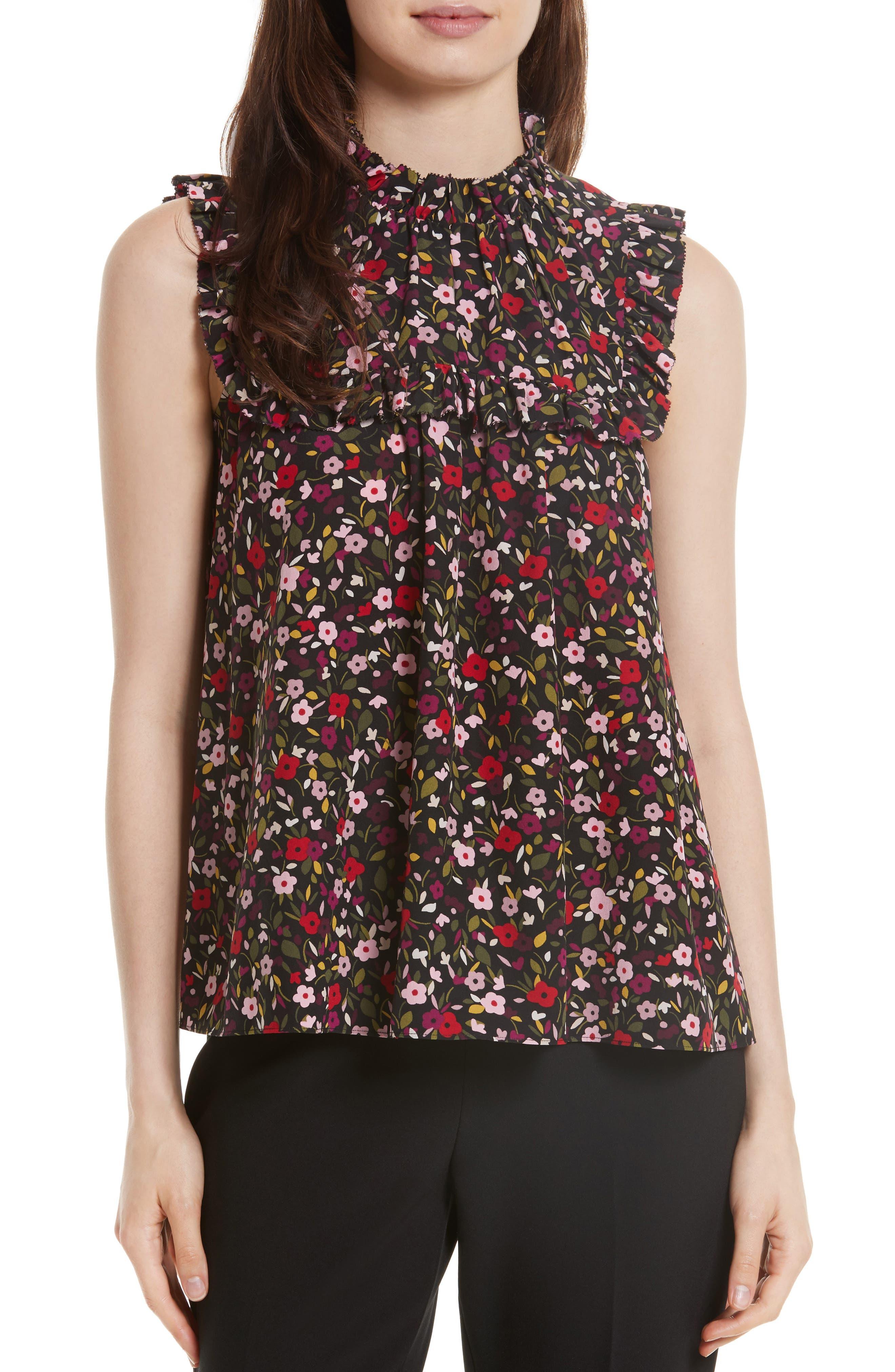 boho floral ruffle trim top,                         Main,                         color, Black