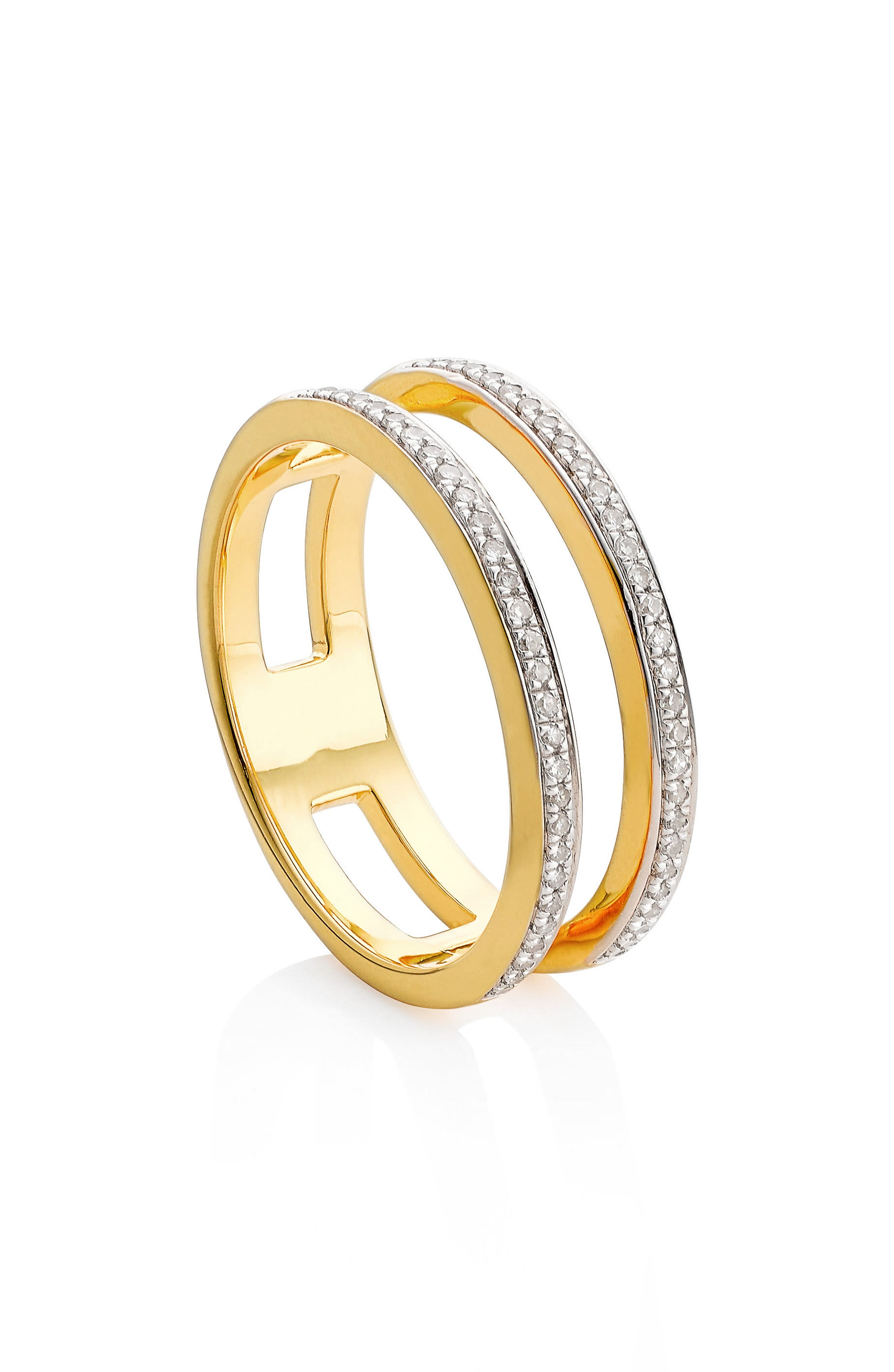 Skinny Double Band Diamond Ring,                             Alternate thumbnail 3, color,                             Yellow Gold