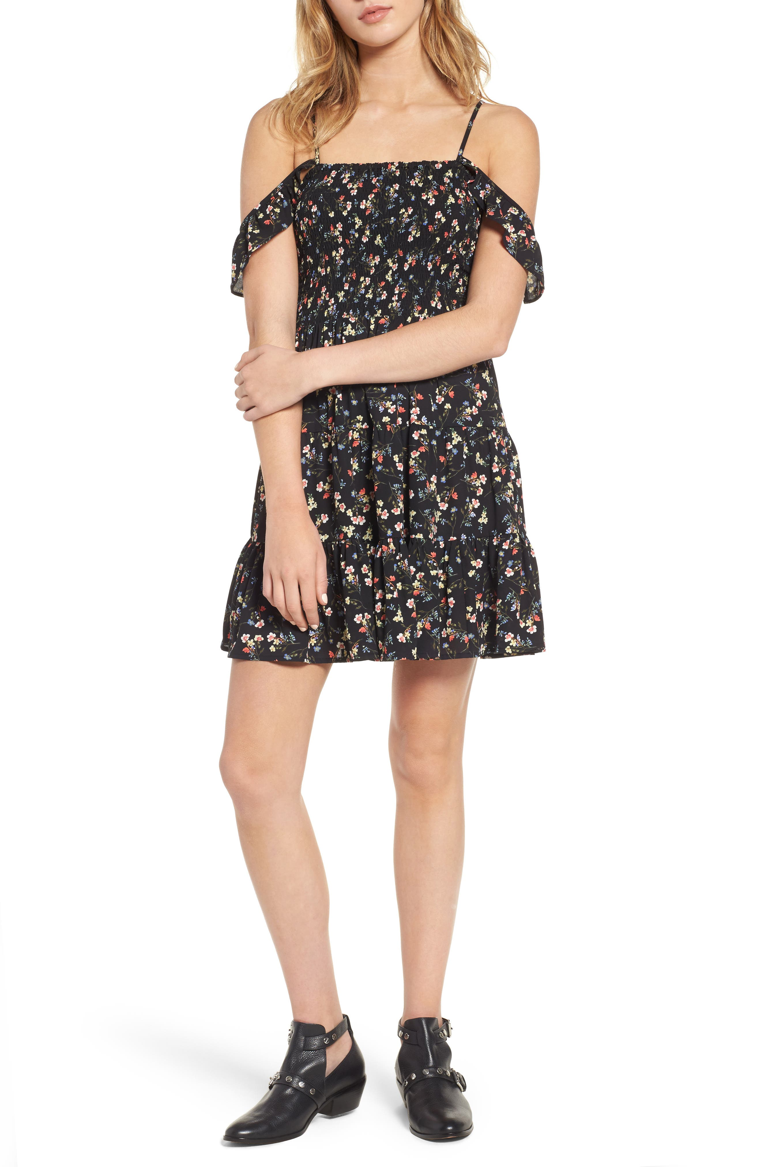 Mimi Chica Smocked Off the Shoulder Minidress